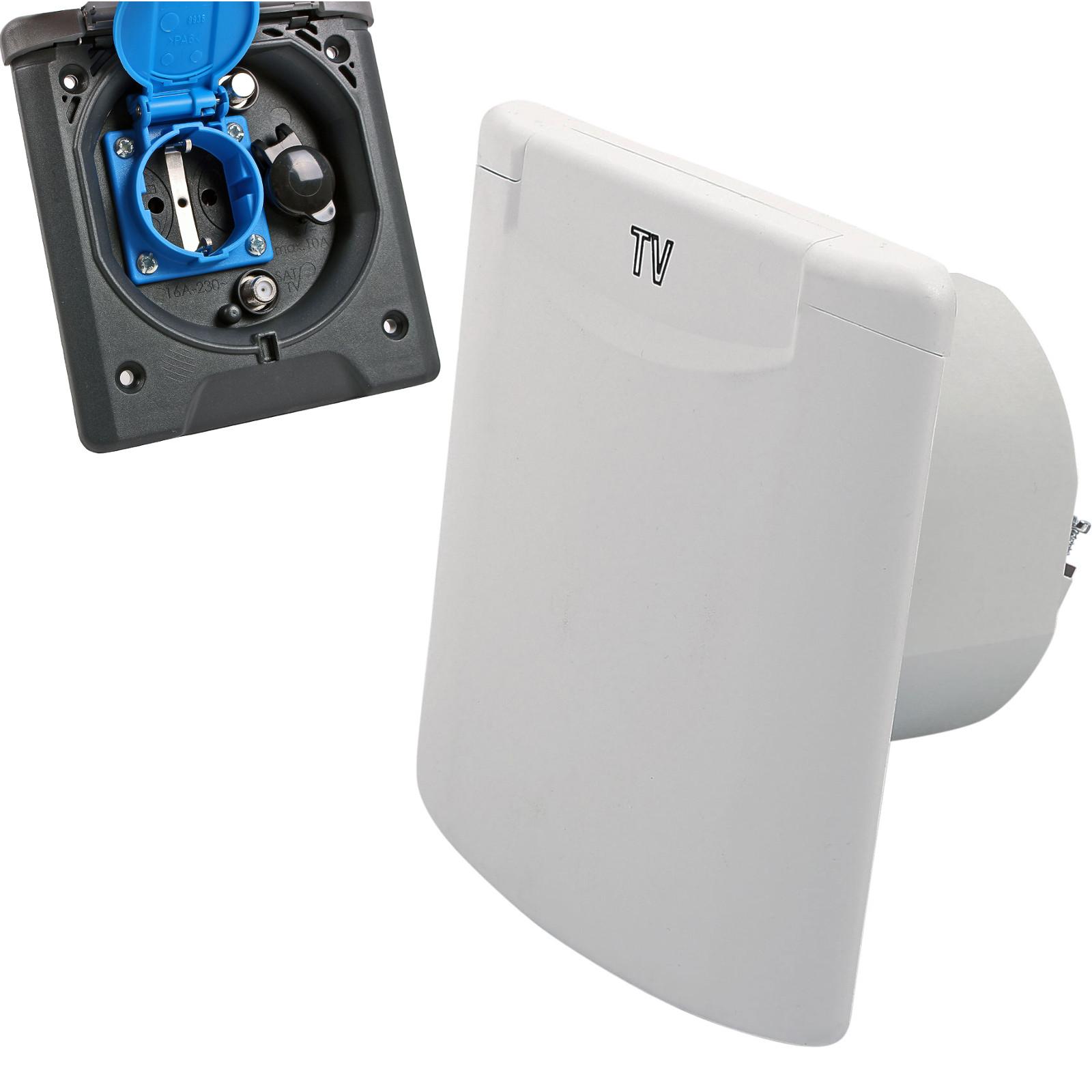 Vorzeltsteckdose Multi 12V und 230V, 2x Sat Weiß IP54, Magnetverschluss