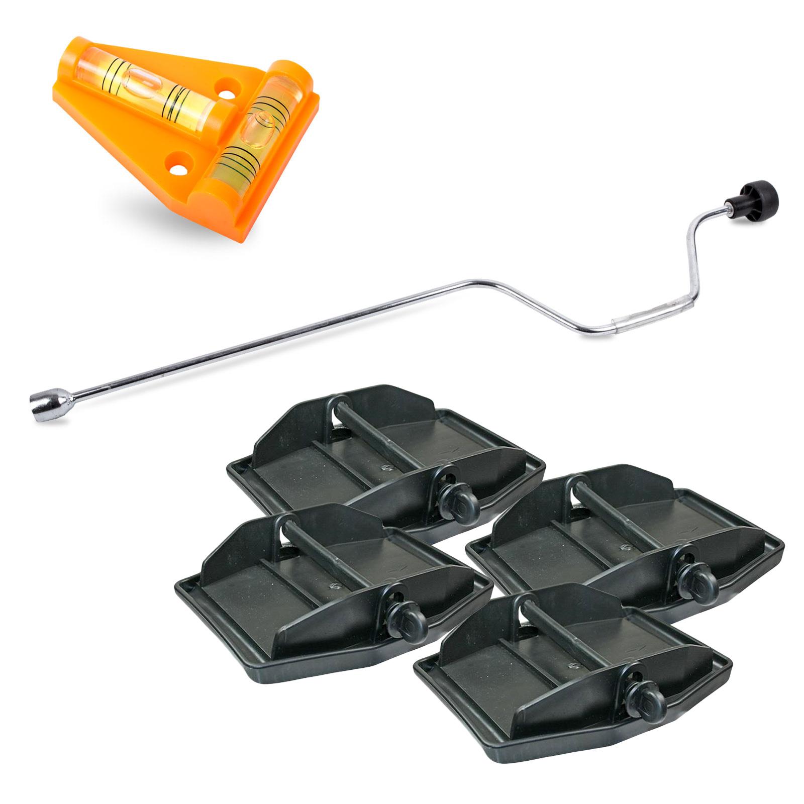 Hypercamp Stützplatten mit Handkurbel & Wasserwaage