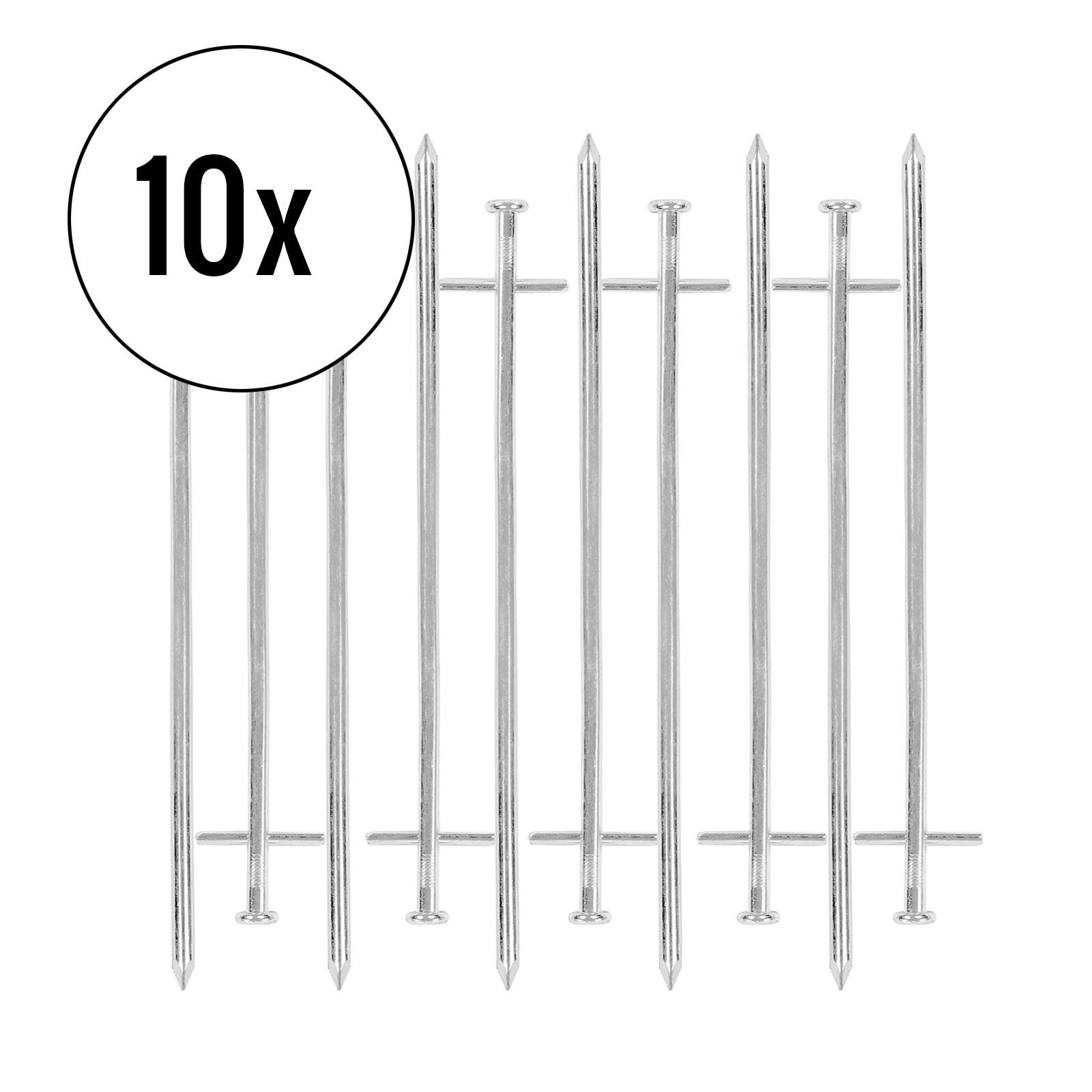 Zeltheringe für harte Böden 10er Set, silber, 23 cm, Stahl