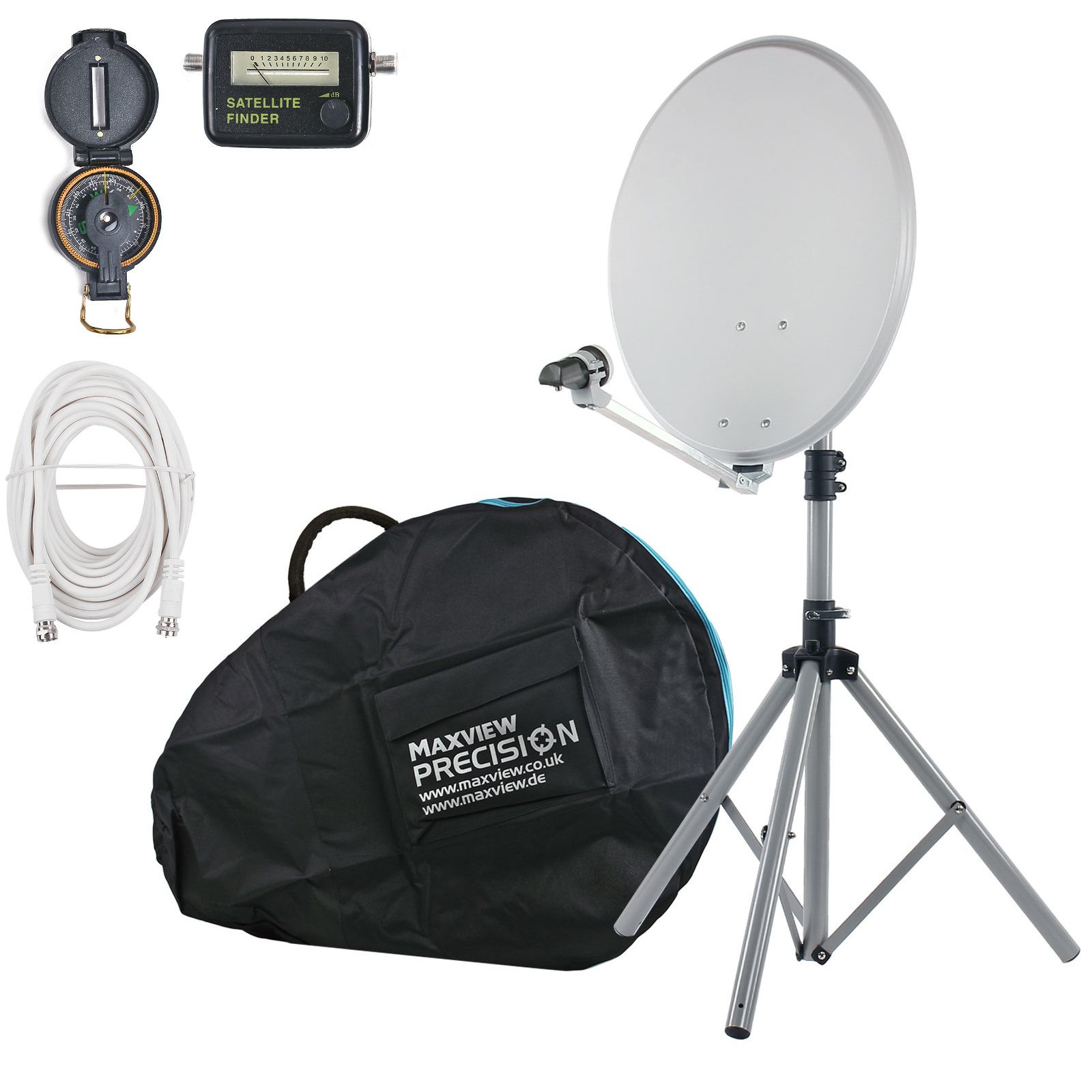 Maxview portable SAT Anlage Set light, 54cm Spiegel, Satfinder, Kompass, Stativ