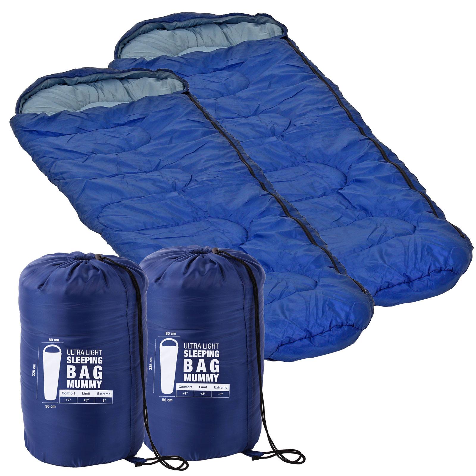 2x Ultraleicht Mumien Schlafsack Blau 225 x 80 x 50 minus 8 °C