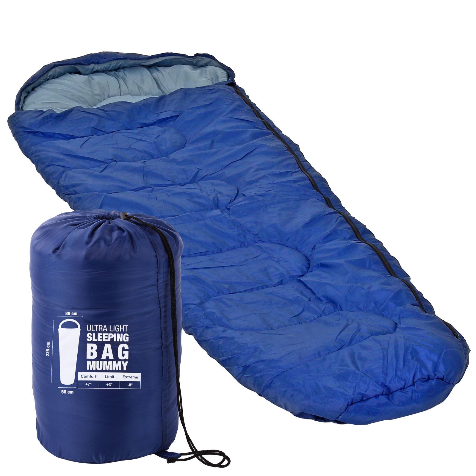 Mumienschlafsack ultraleicht, 225x80x50 cm, - 8 °C, 1,25 kg, blau