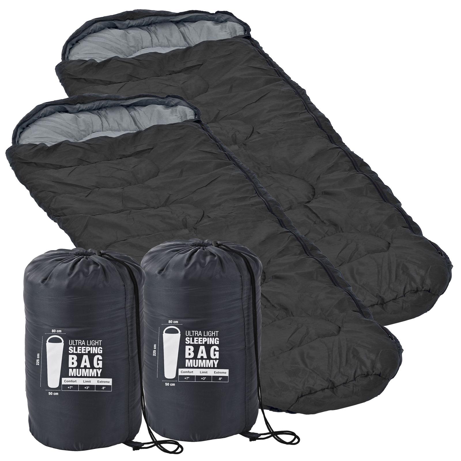 2x Ultraleicht Mumien Schlafsack Grau 225 x 80 x 50 minus 8 °C