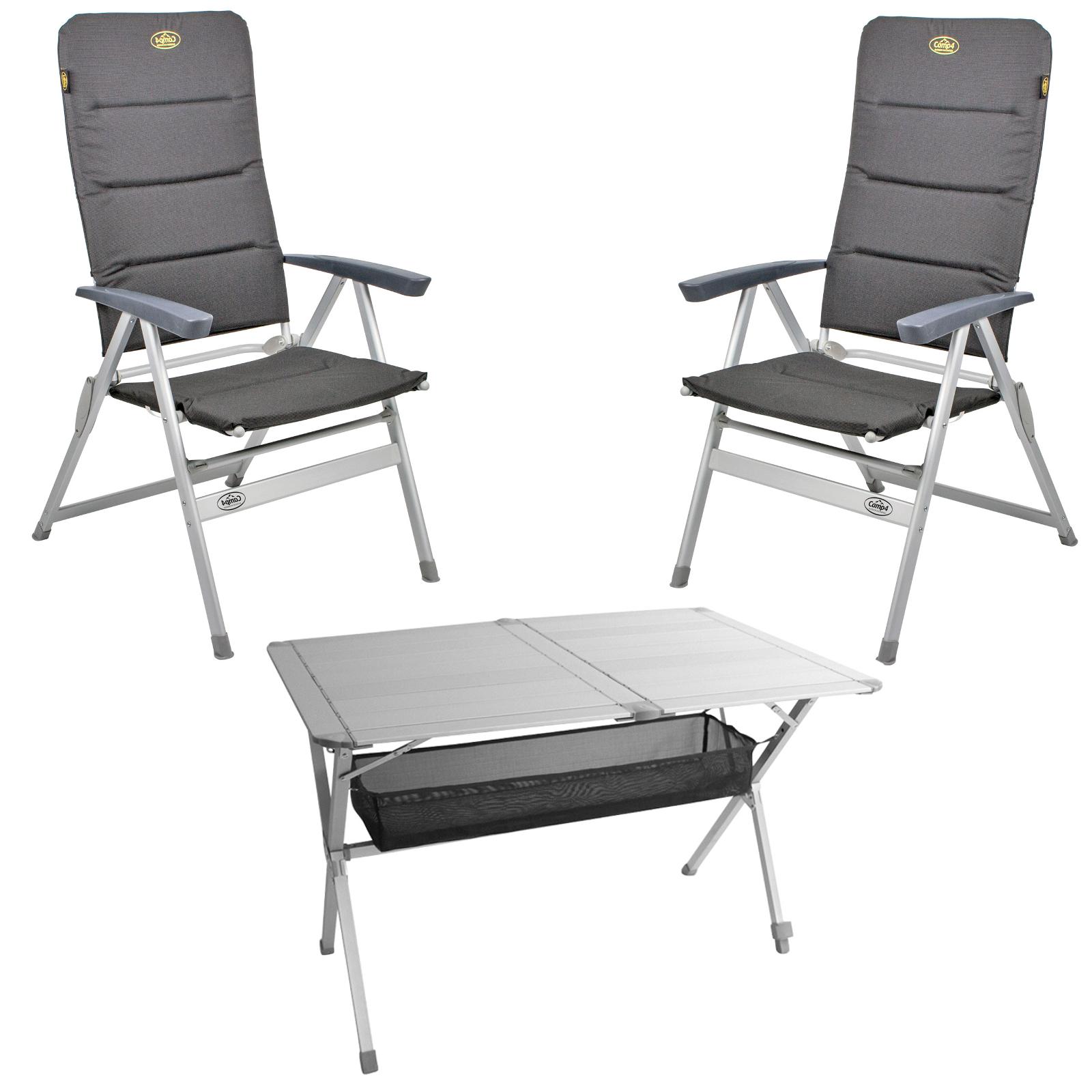 """Camping Möbel Set Tisch + 2 Stühle """"Grenoble"""" , 1x Tisch """"Titan Space"""""""