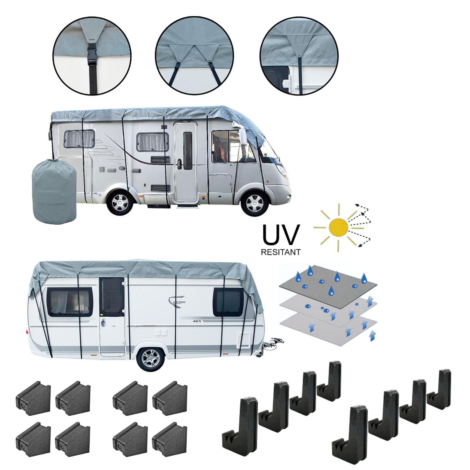 Wohnwagen & Wohnmobil Schutzdach 8x3 Meter Winter geeignet + 8er Set Schutzecken
