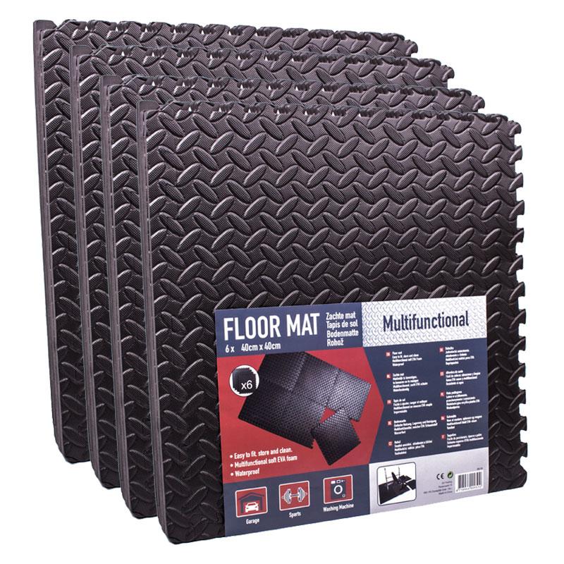 Steckmatten 24er Set 40 x 40 cm schwarz, EVA Schaumstoff 3,84m²