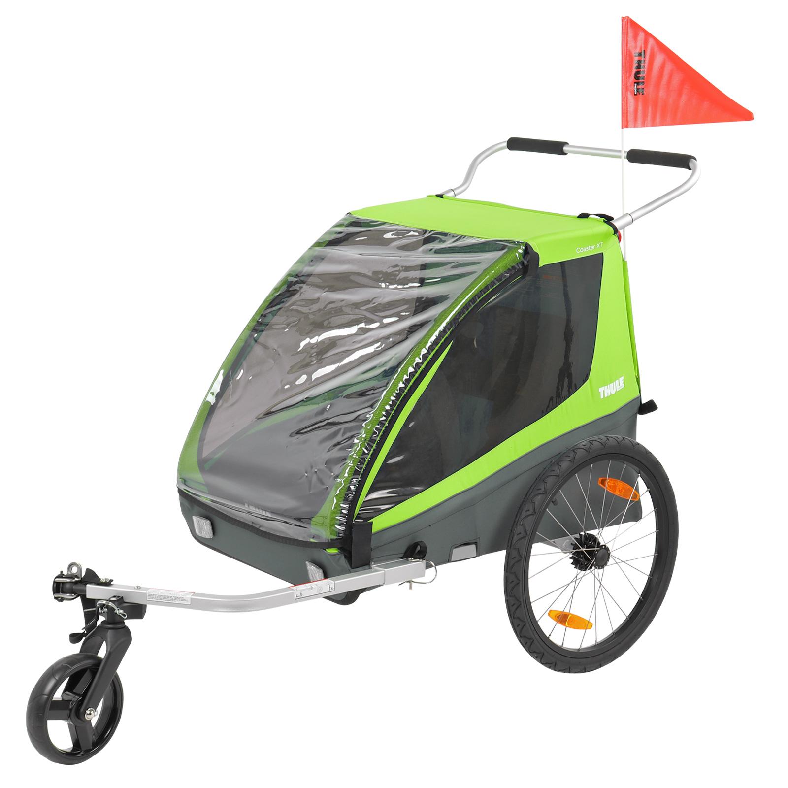 Thule Coaster XT Fahrrad Anhänger, Buggy, Grün , Zweisitzer, 45 Kg Zuladung