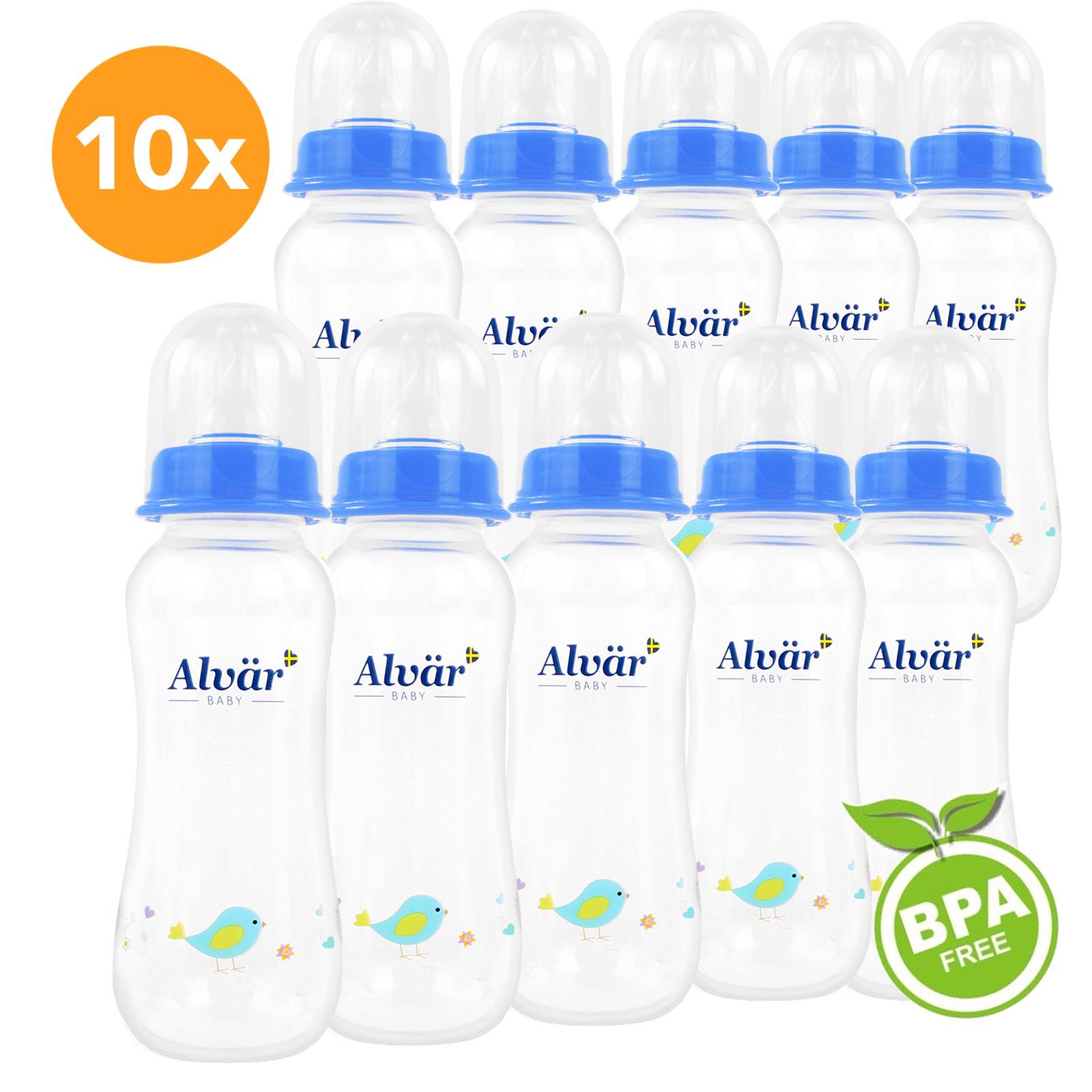 10x Alvär Babyflasche Classic 250ml, leicht zu reinigen, BPA Free, blau