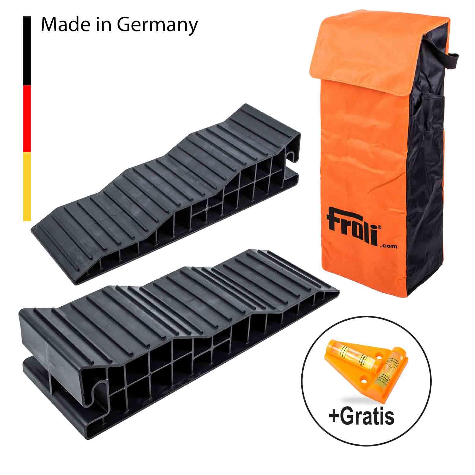 Froli Auffahrkeile Stufenkeile für Wohnwagen & Wohnmobil 8t + Waage