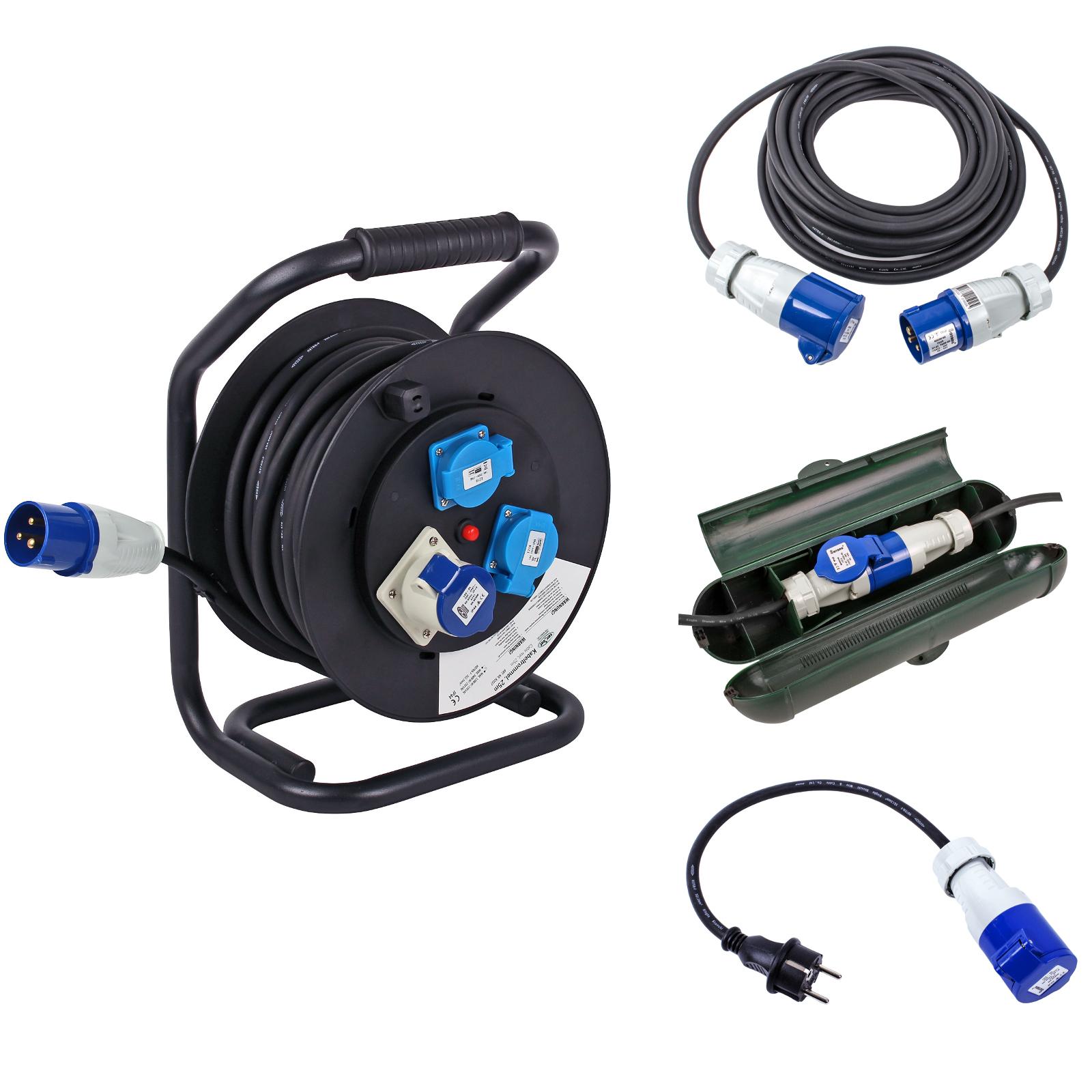 CEE Camping Set Kabeltrommel 25M - 10M Kabel - Sicherheitsbox - Adapter Schuko