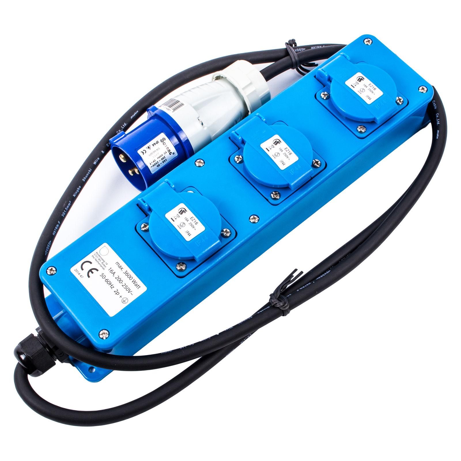 Soyang®  CEE Neopren Mehrfachstecker 16 A 3600 Watt 200-250V 1,5 Meter