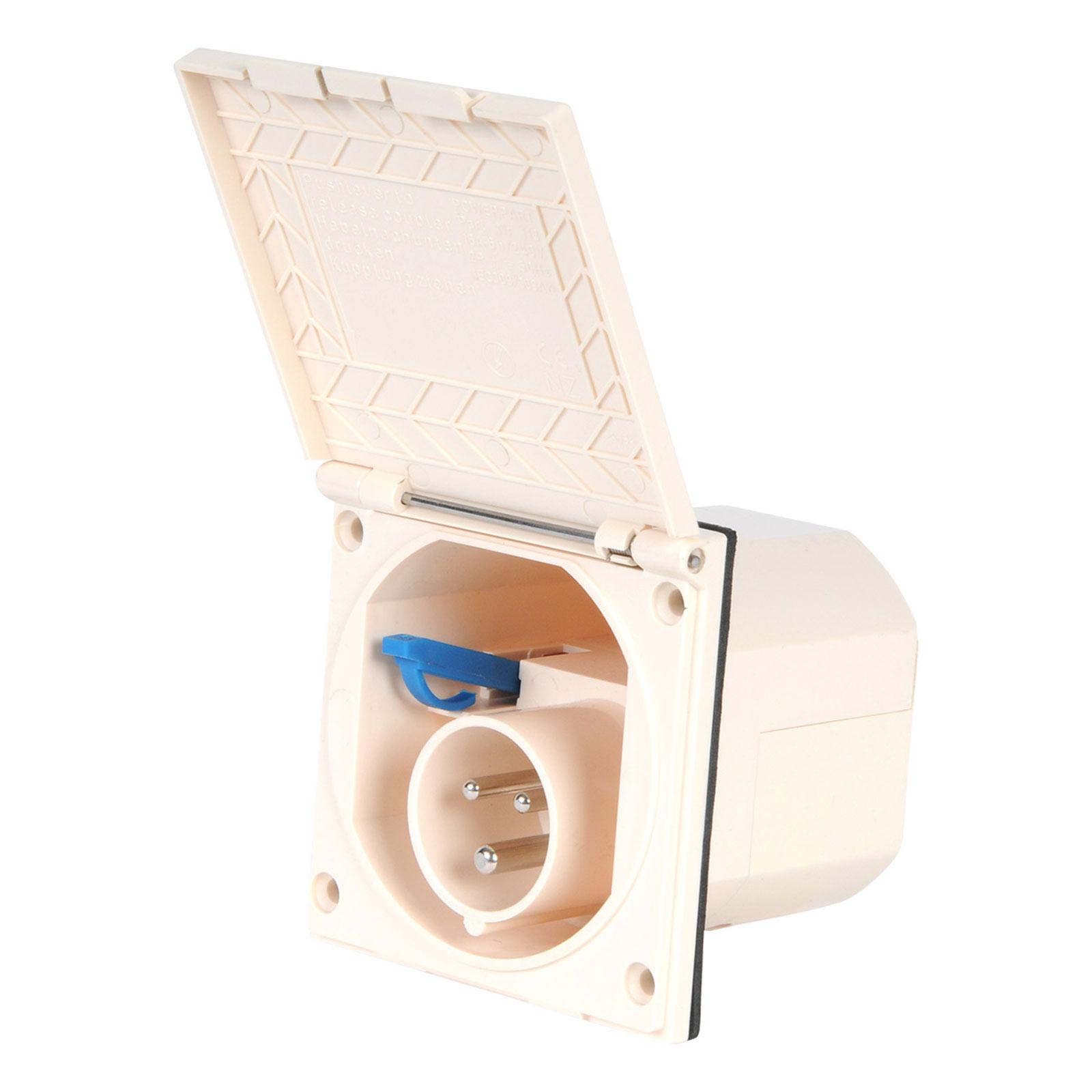 CEE Aussensteckdose Spritzwasser geschützt 200-240V 16A  IP44 beige
