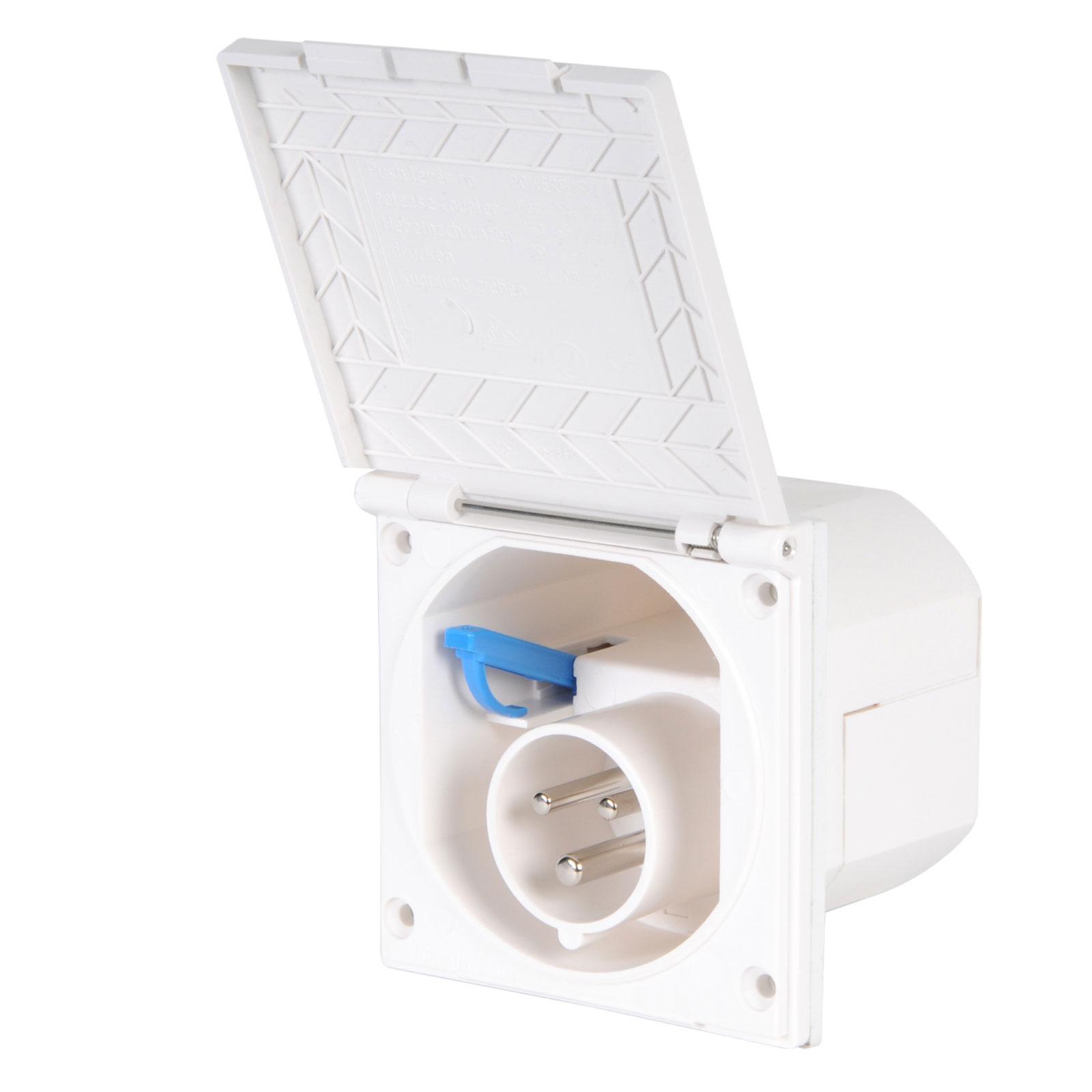 CEE Aussensteckdose Spritzwasser geschützt 200-240V, 16A, IP44, weiß