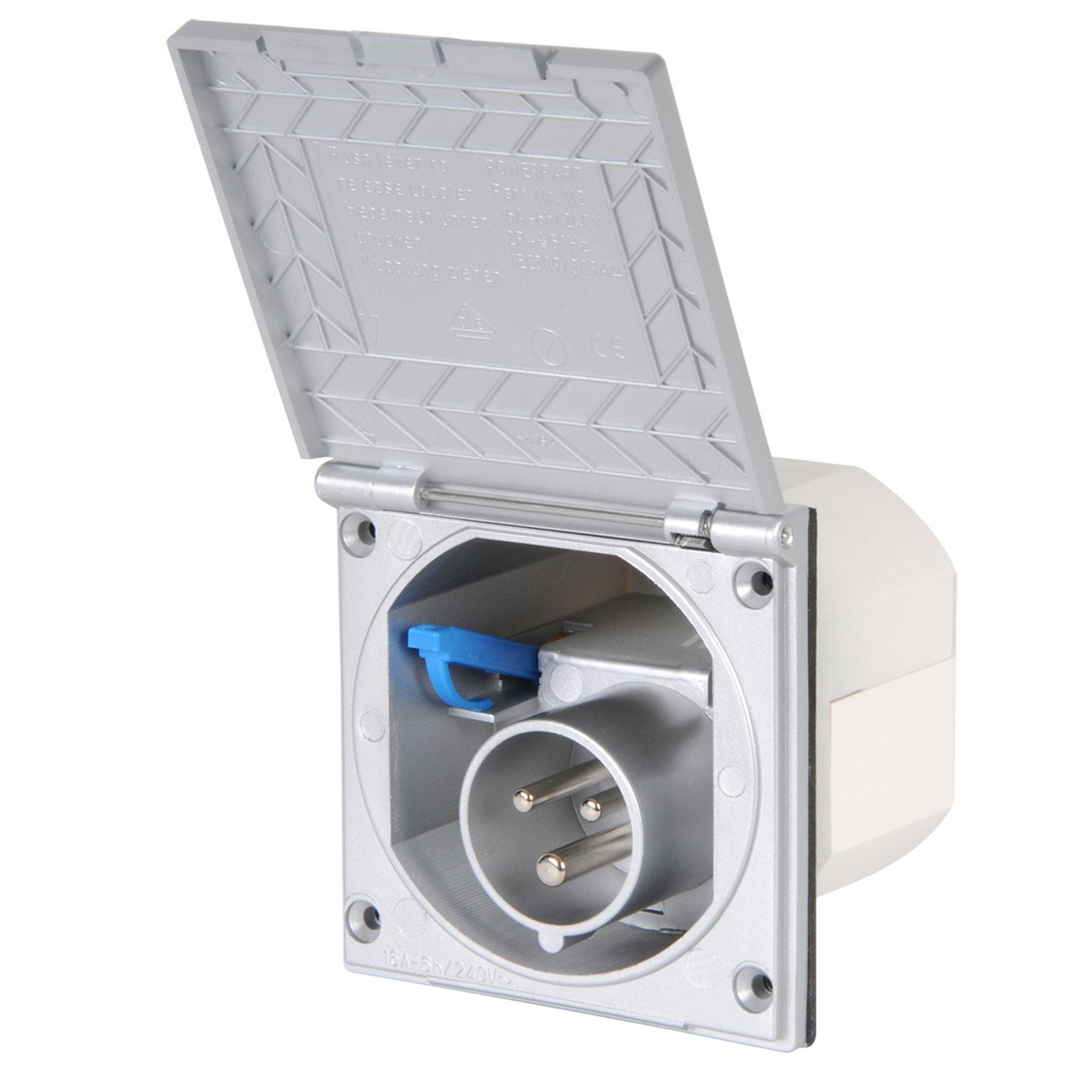 CEE Aussensteckdose Spritzwasser geschützt 200-250V 16A 3 polig silber