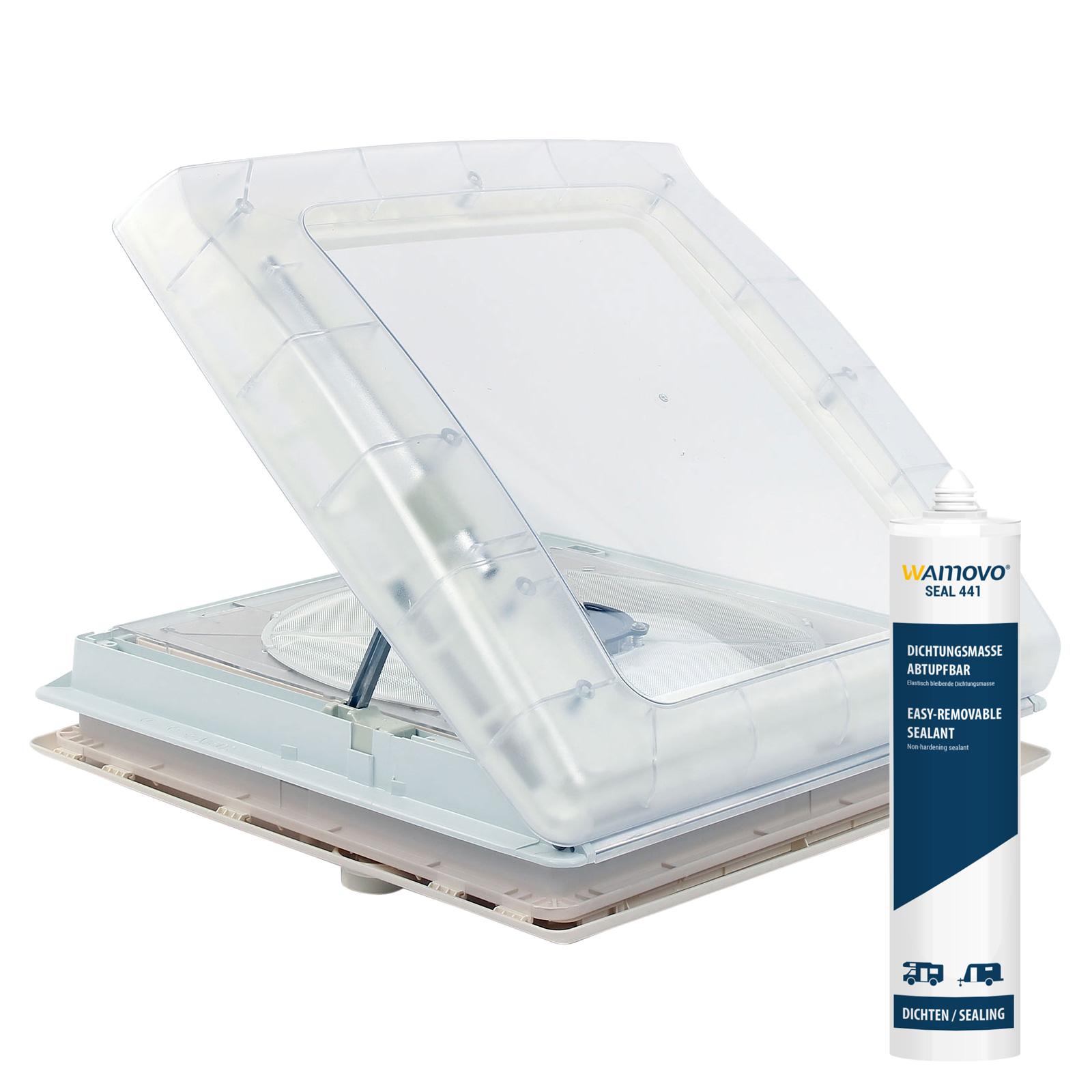 Thule® Kurbeldachhaube Omni-Vent transparent 40x40 12 Volt Ventilator + Dekalin
