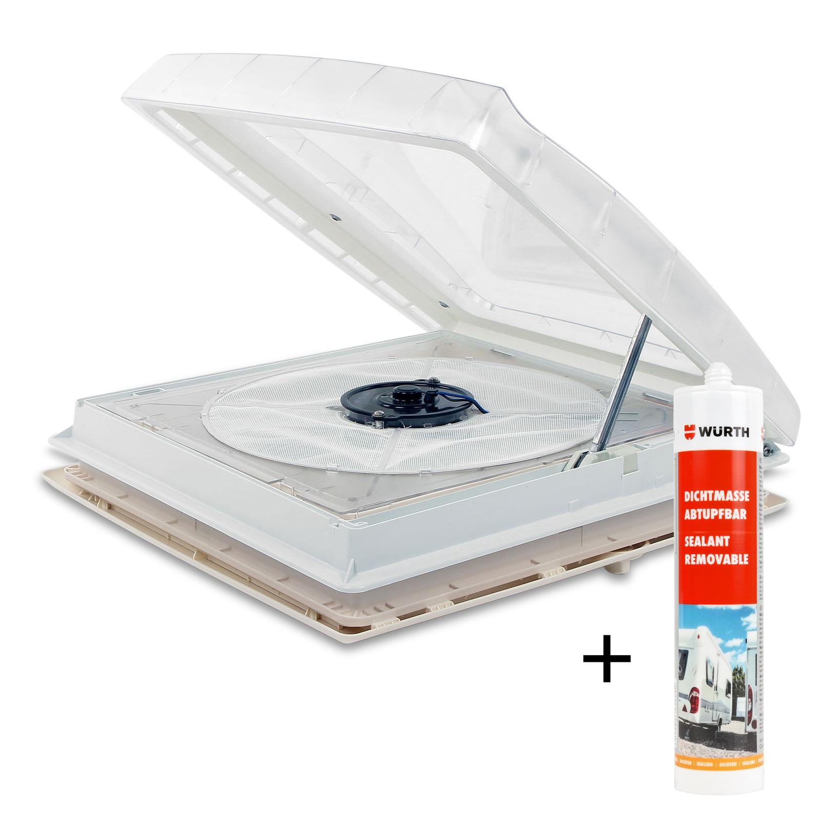 Thule® Kurbeldachhaube Omni-Vent transparent 40x40 12V Ventilator + Dichtmittel