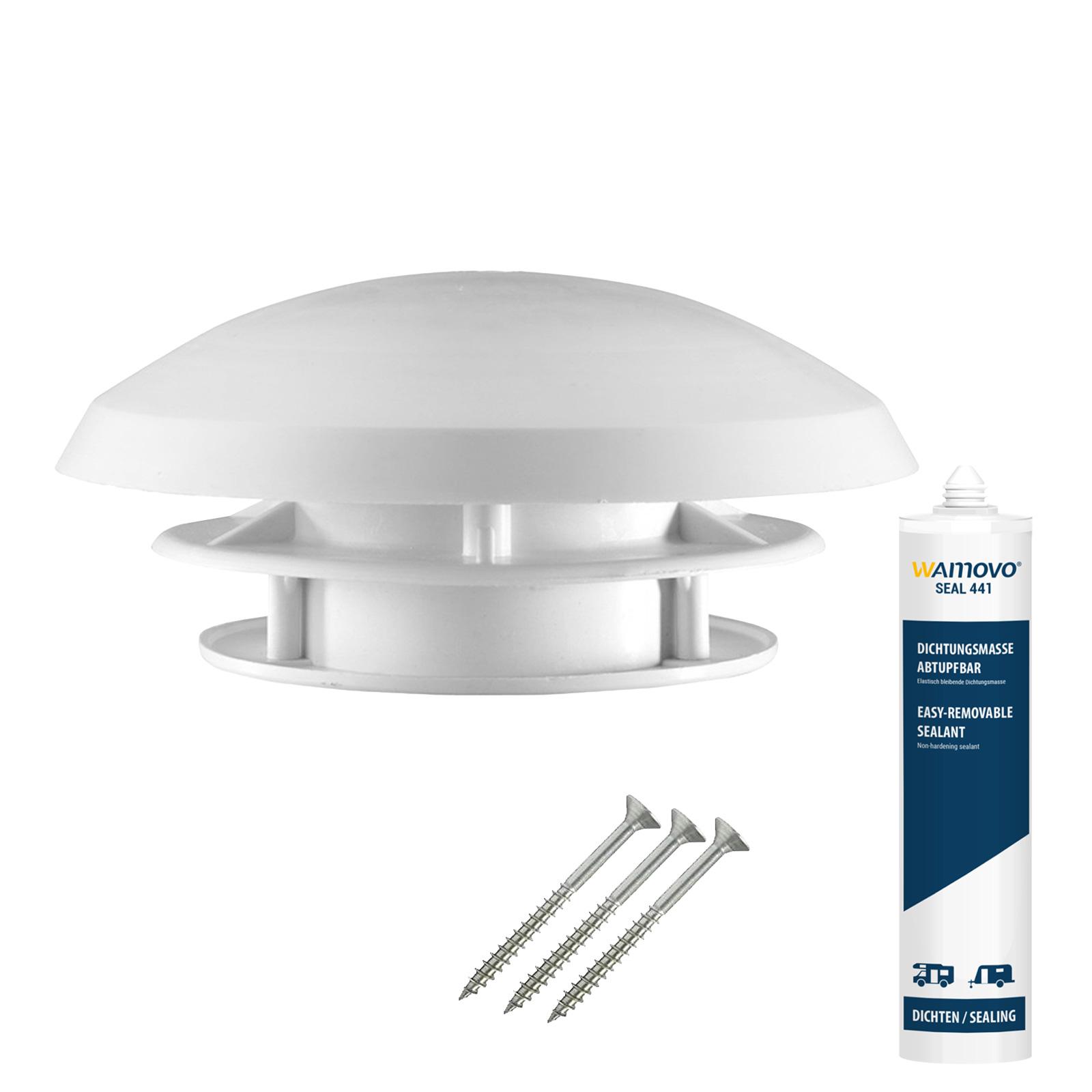 Dachlüfter Wohnmobil 20 cm weiß Dachstärke 20-45 mm + Dichtmasse + Schrauben