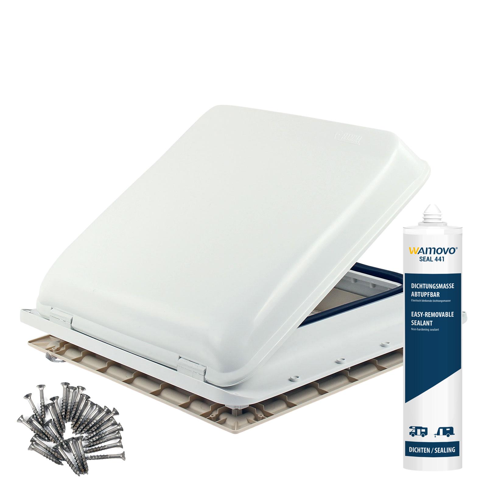 Dachfenster Fiamma Vent 40x40 cm Weiß + Dichmittel + Schrauben