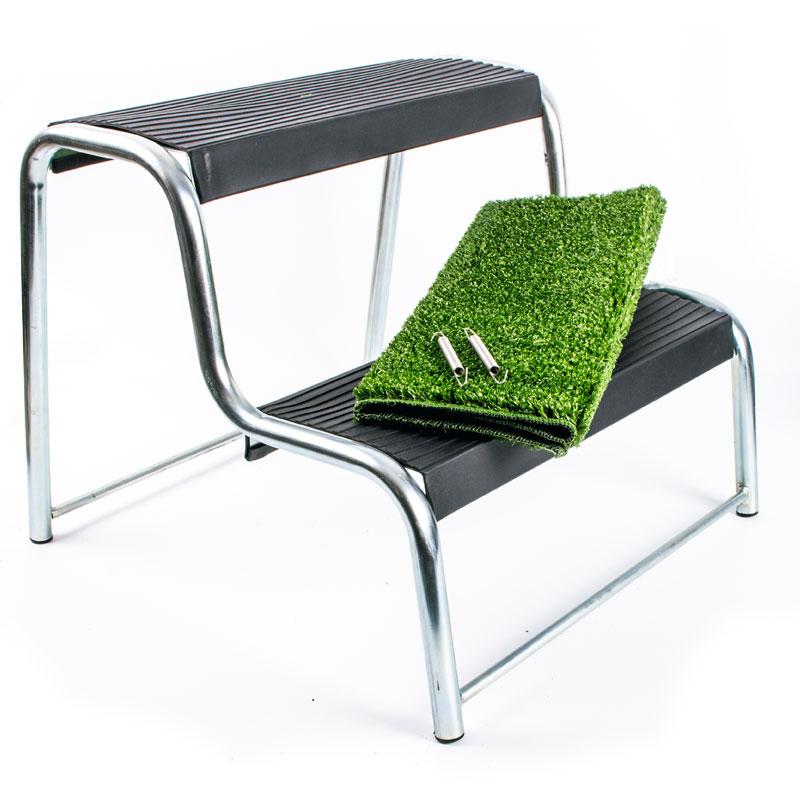 Doppeltrittstufe mit Fußmatte, 48x44x37 cm, 150kg belastbar, gummiert