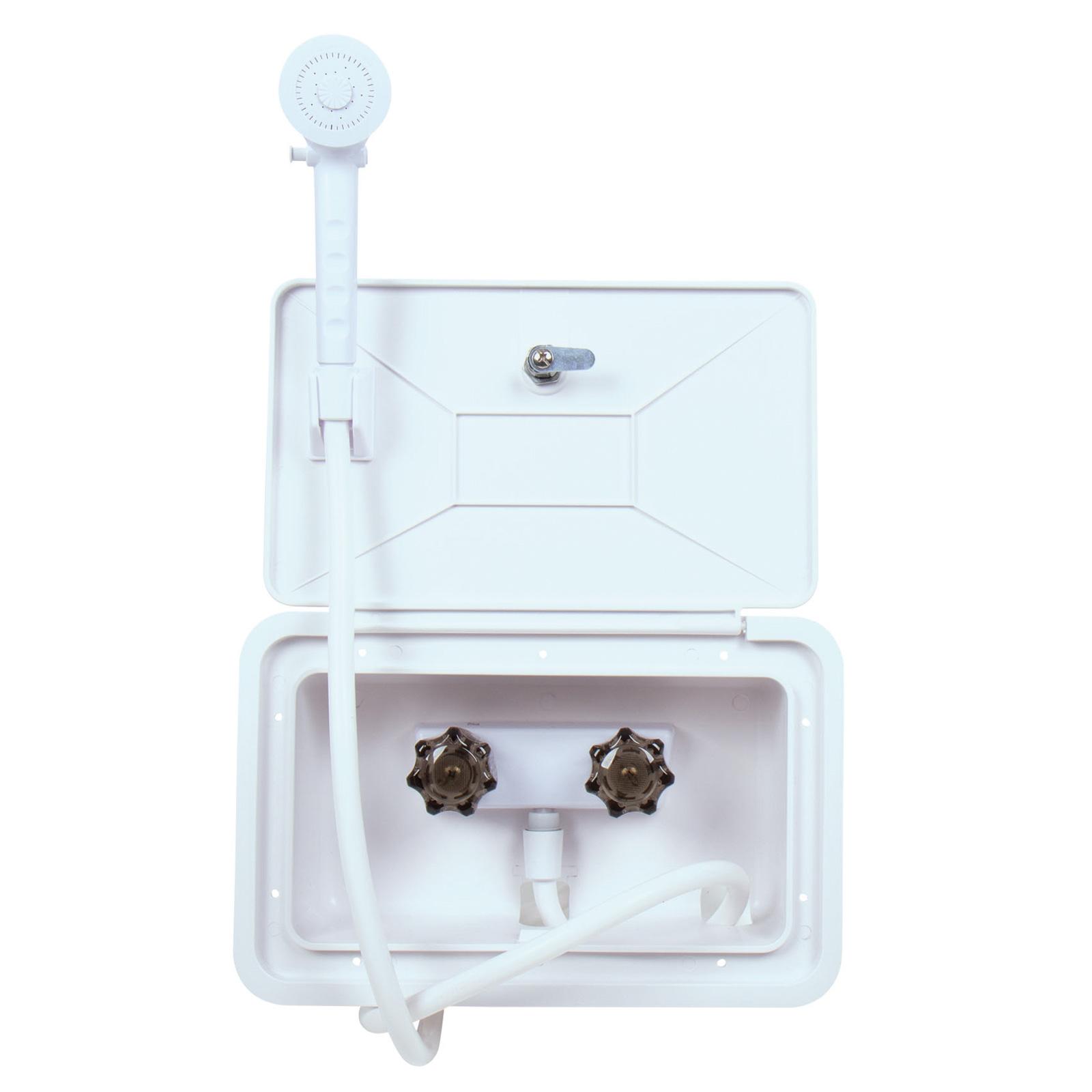 Außendusche Box, Serviceklappe, weiß, abschließbar, 345x220mm