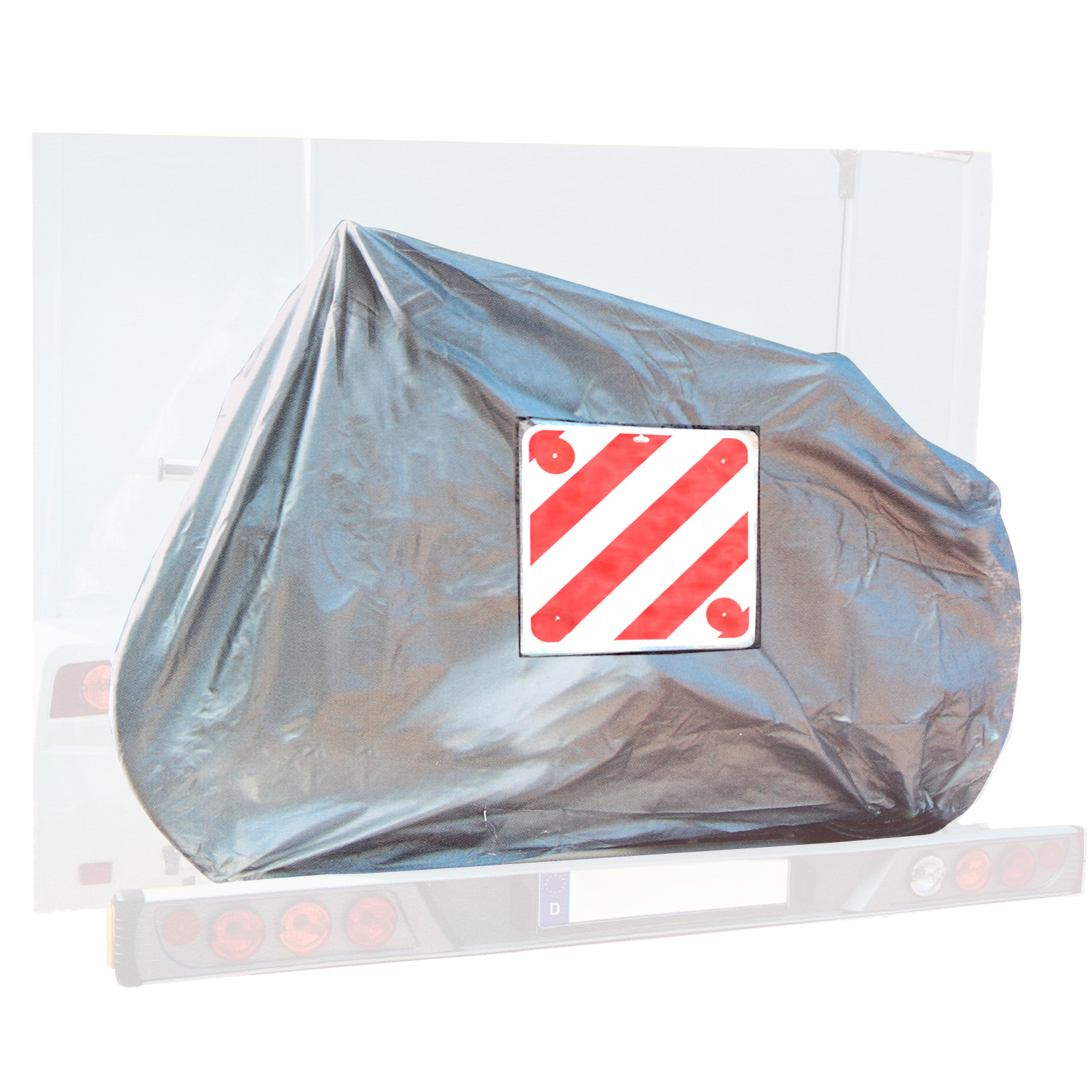 Bicycle cover for 2 bicycles + warning sign plastic with reflectors