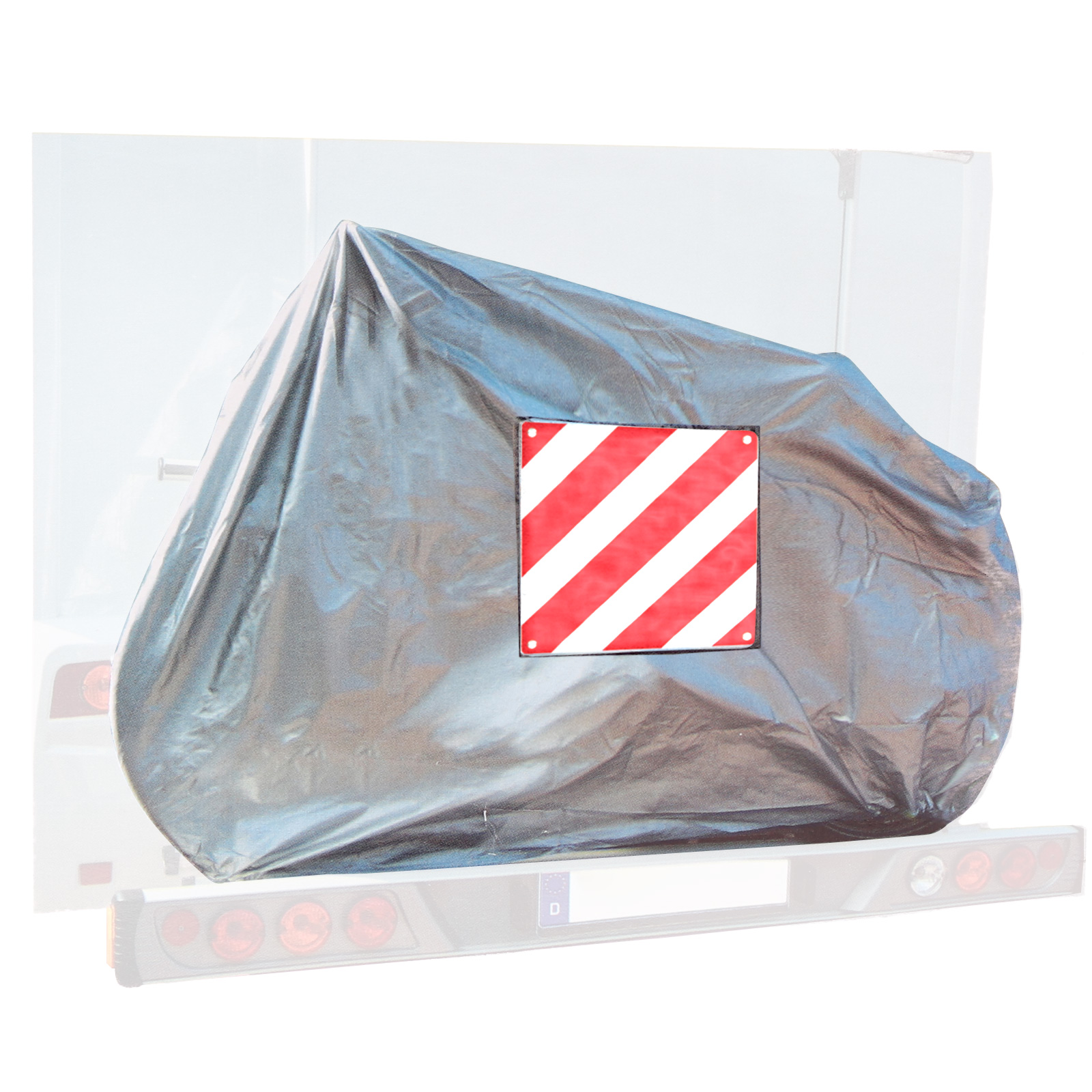 Bicycle cover for 2 bikes + Warning plate aluminum for Italy