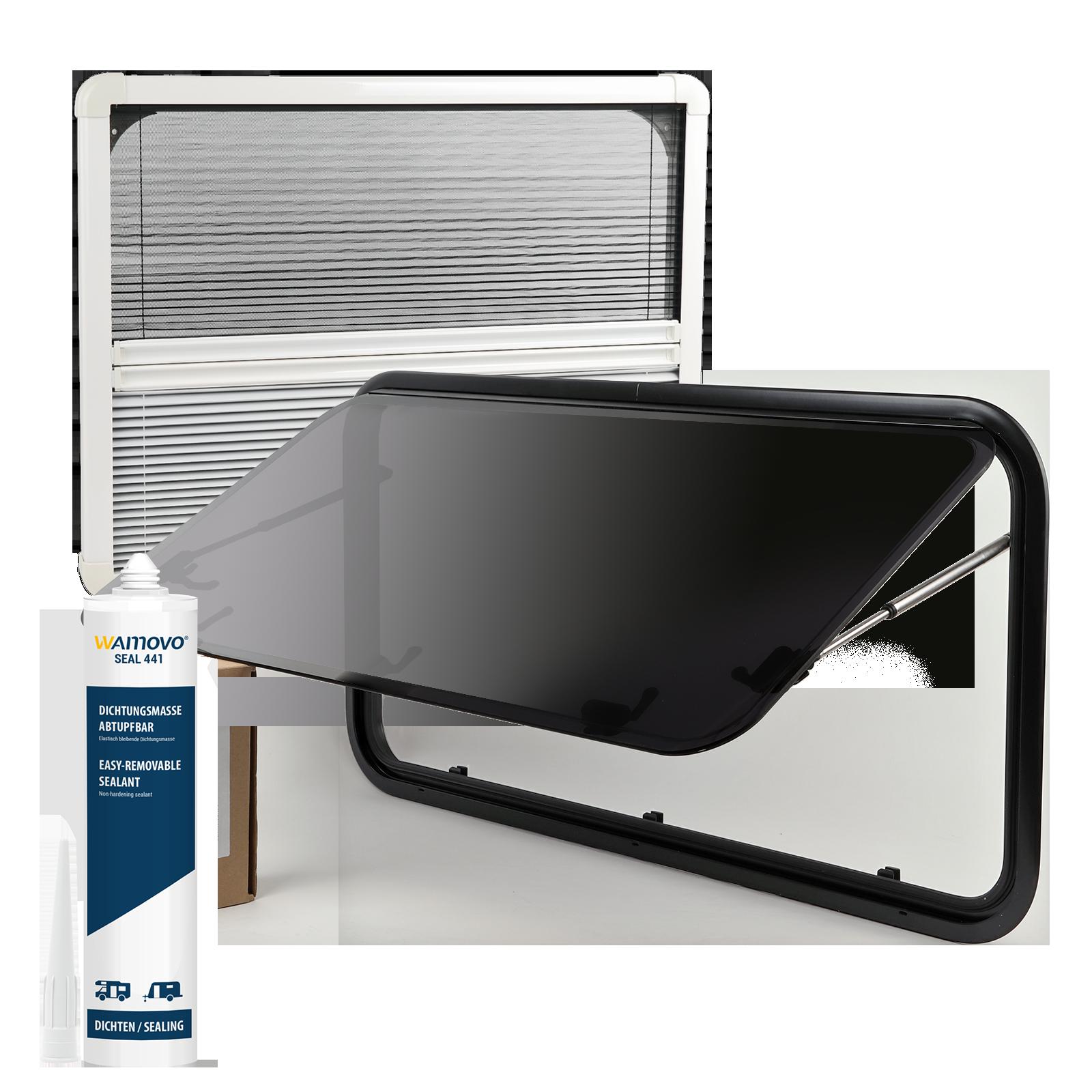 Set Ausstellfenster Acrylglas 900 x 450 inkl. Verdunklung und Insektenschutz