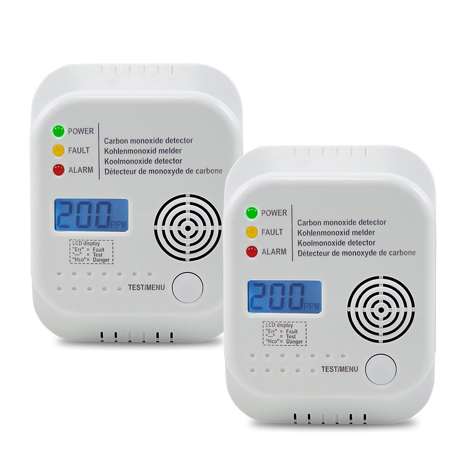 2 x Gasmelder für Kohlenmonoxid inkl. 3x AA Batterien