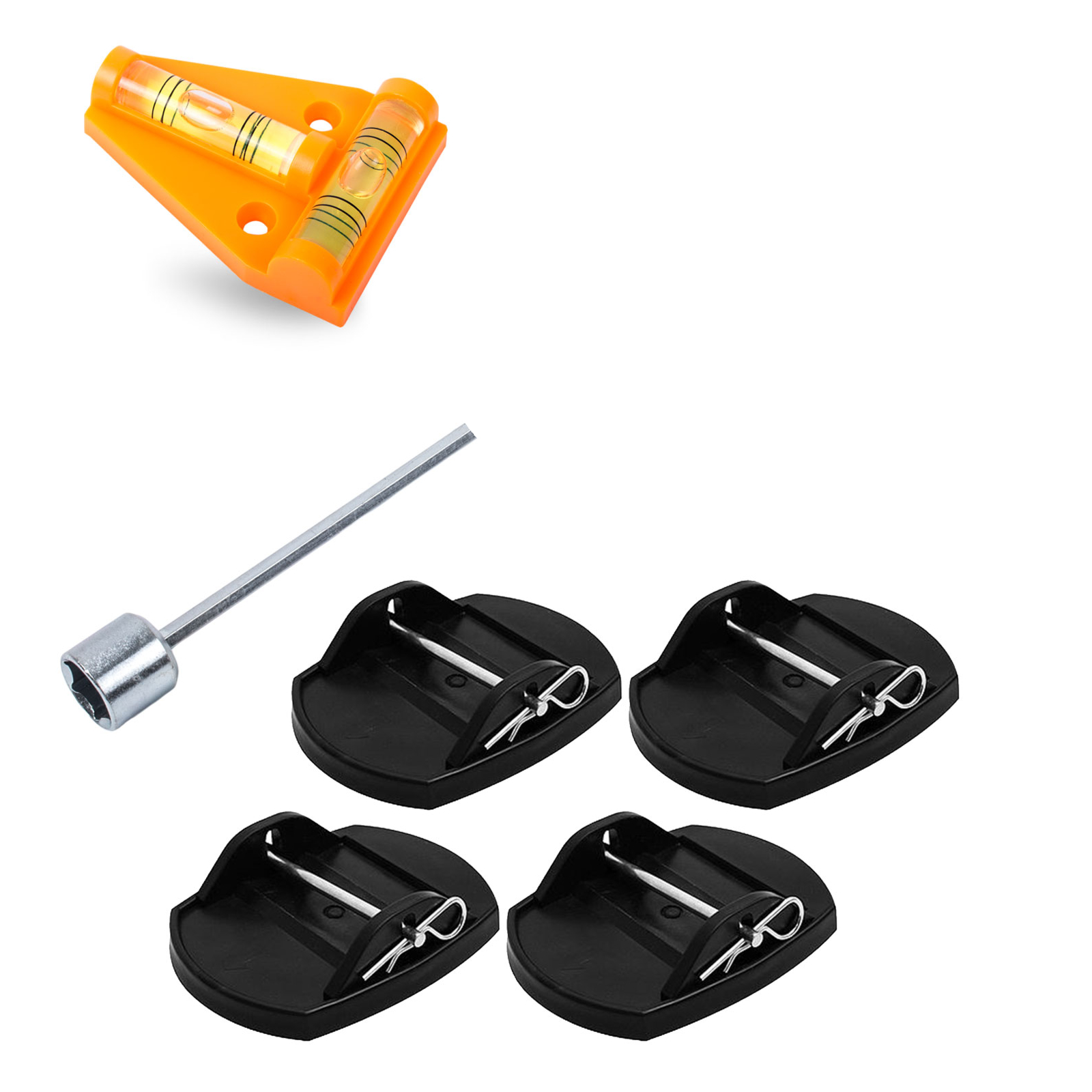 Support plates including cordless screwdriver attachment 130mm and cross level