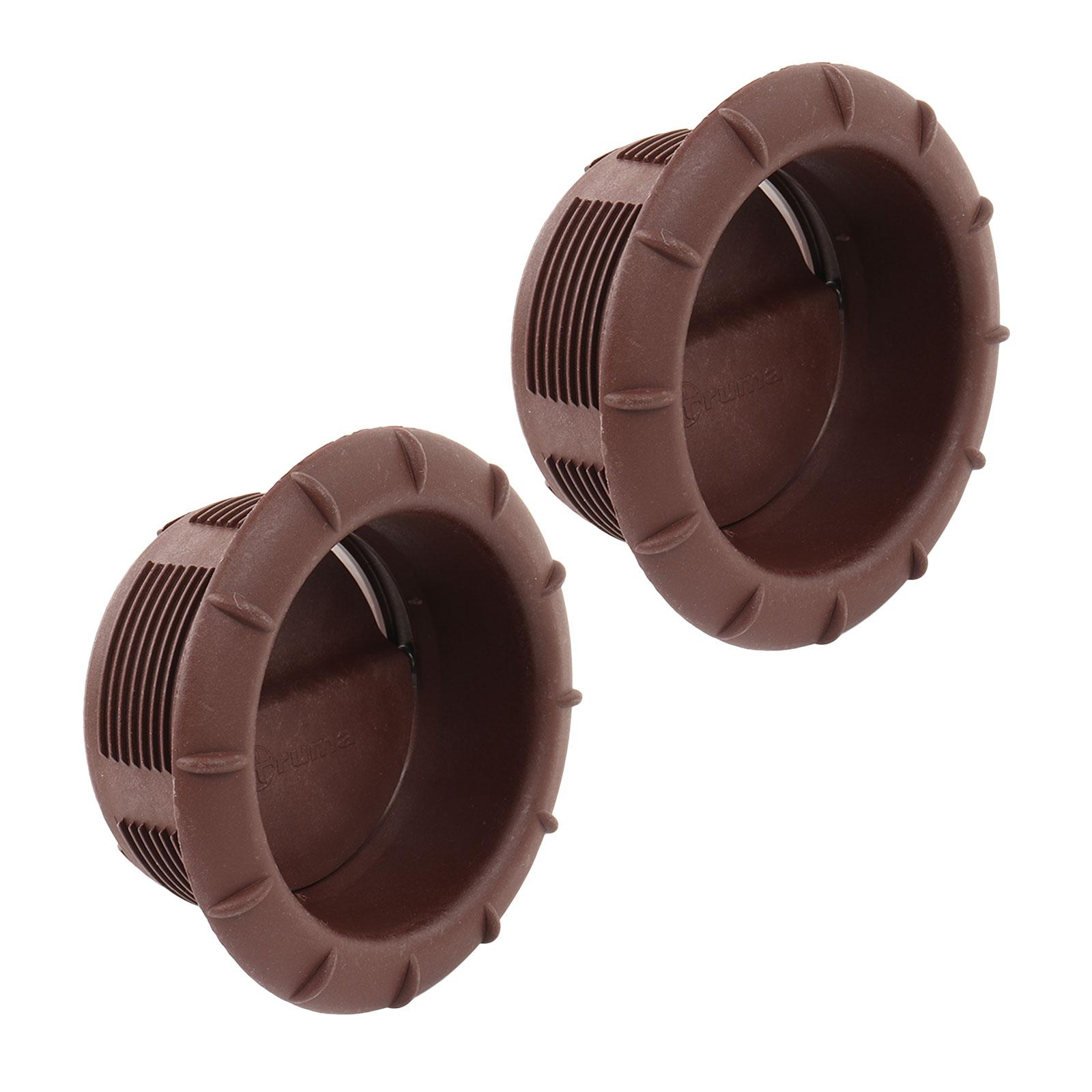 2x Endstück Warmluftaustritt Braun Truma für 65mm Warmluftrohre verschließbar