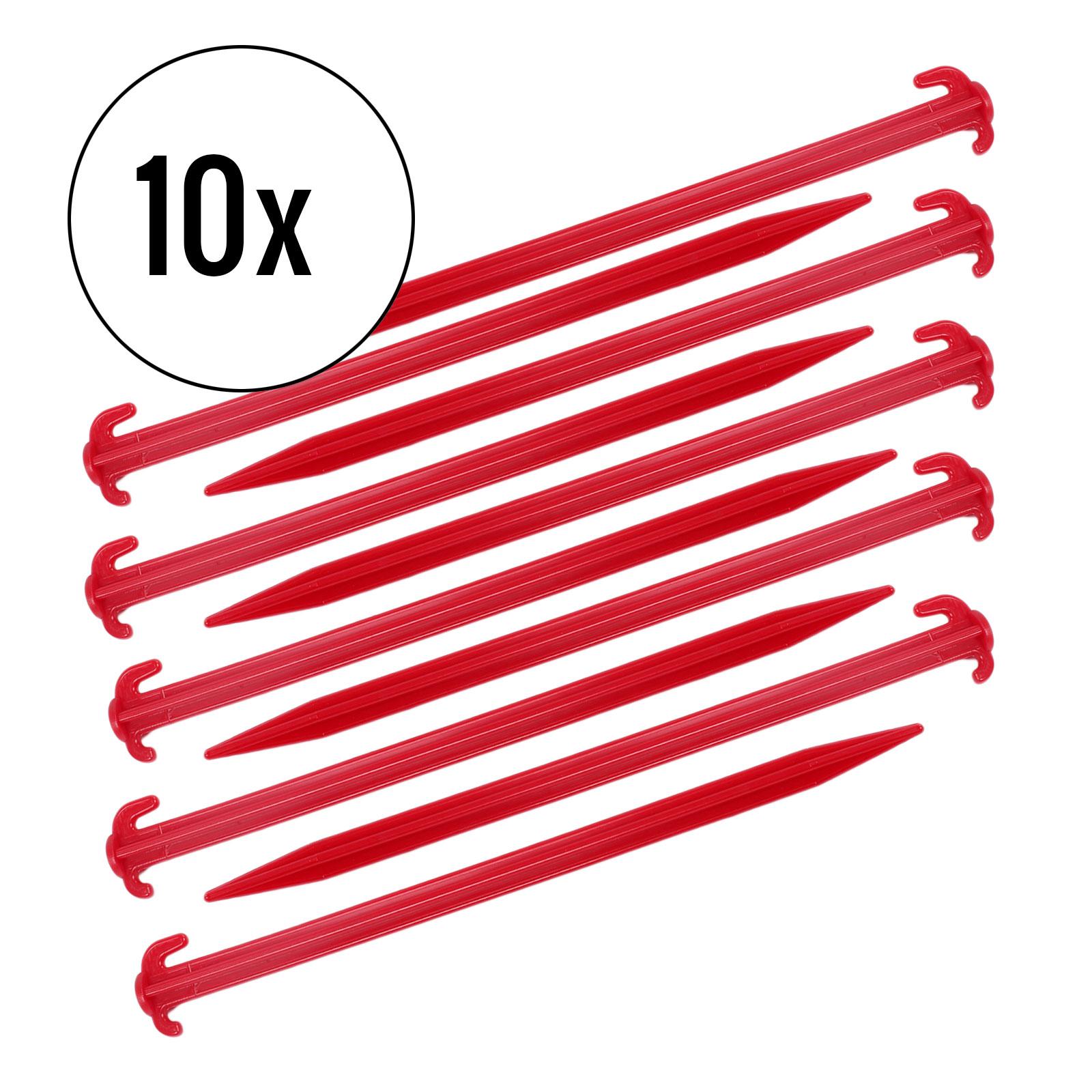 Zeltheringe 10er Set, rot, 30 cm, Kunststoff