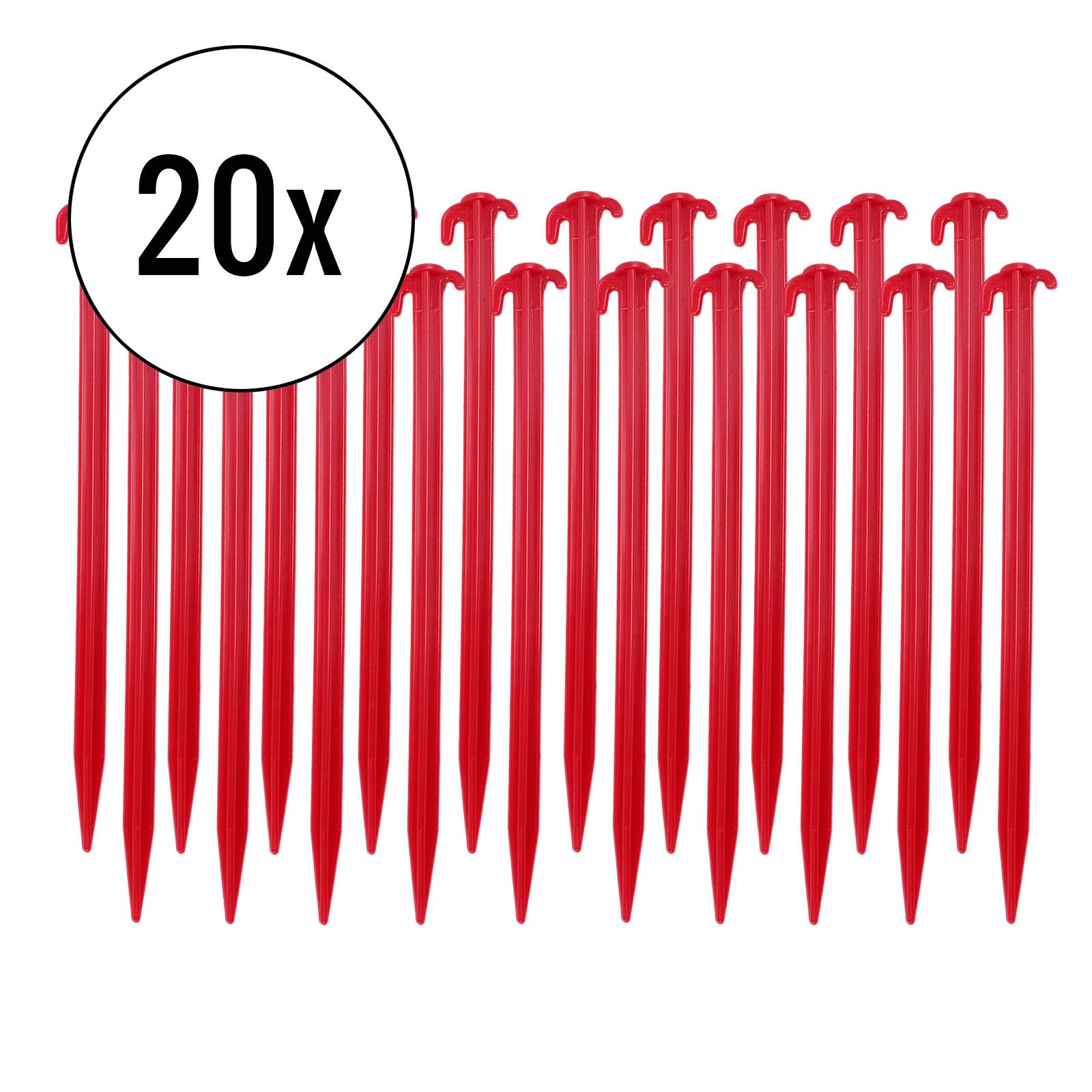 Zeltheringe 20er Set, rot, 30 cm, Kunststoff