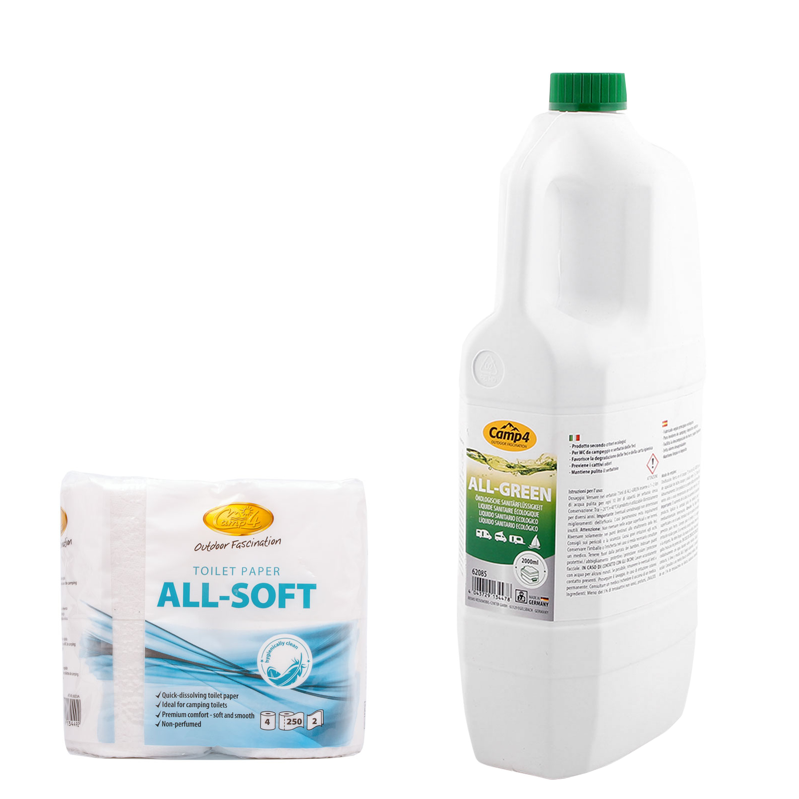 Camp4 All Green Öko Toilettenflüssigkeit 2 Ltr, Abwassertank + Allsoft