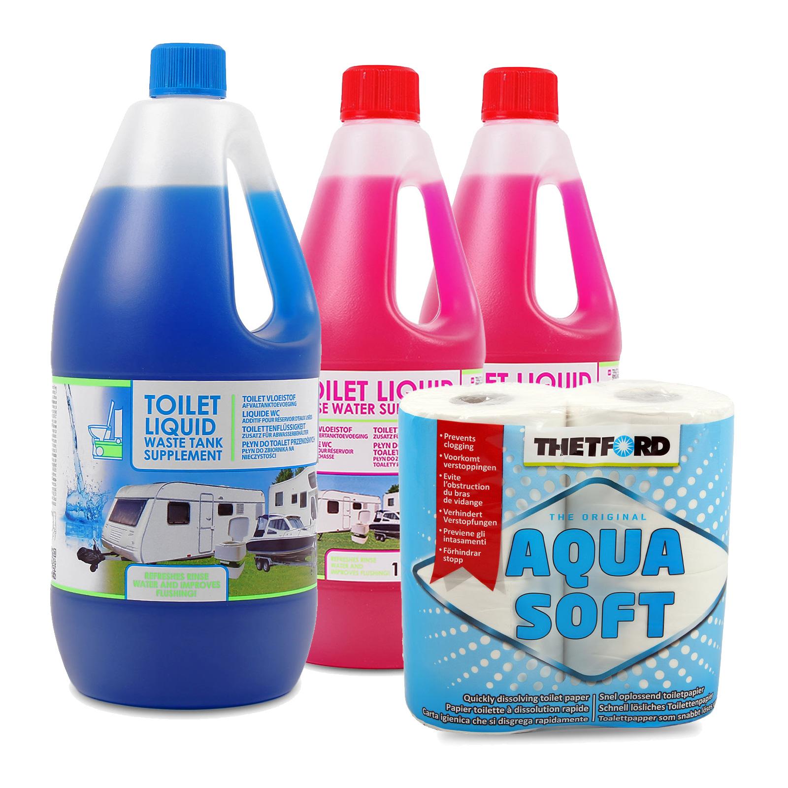 Sanitärflüssigkeit für Chemietoiletten Abwasser & Spülkasten Set