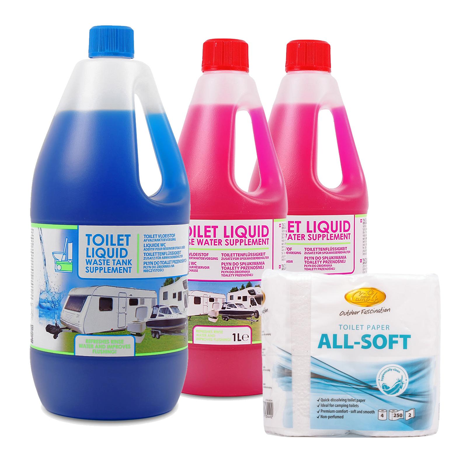 Toilettenzusatz, Chemietoiletten Abwasser & Spülkasten + Toilettenpapier