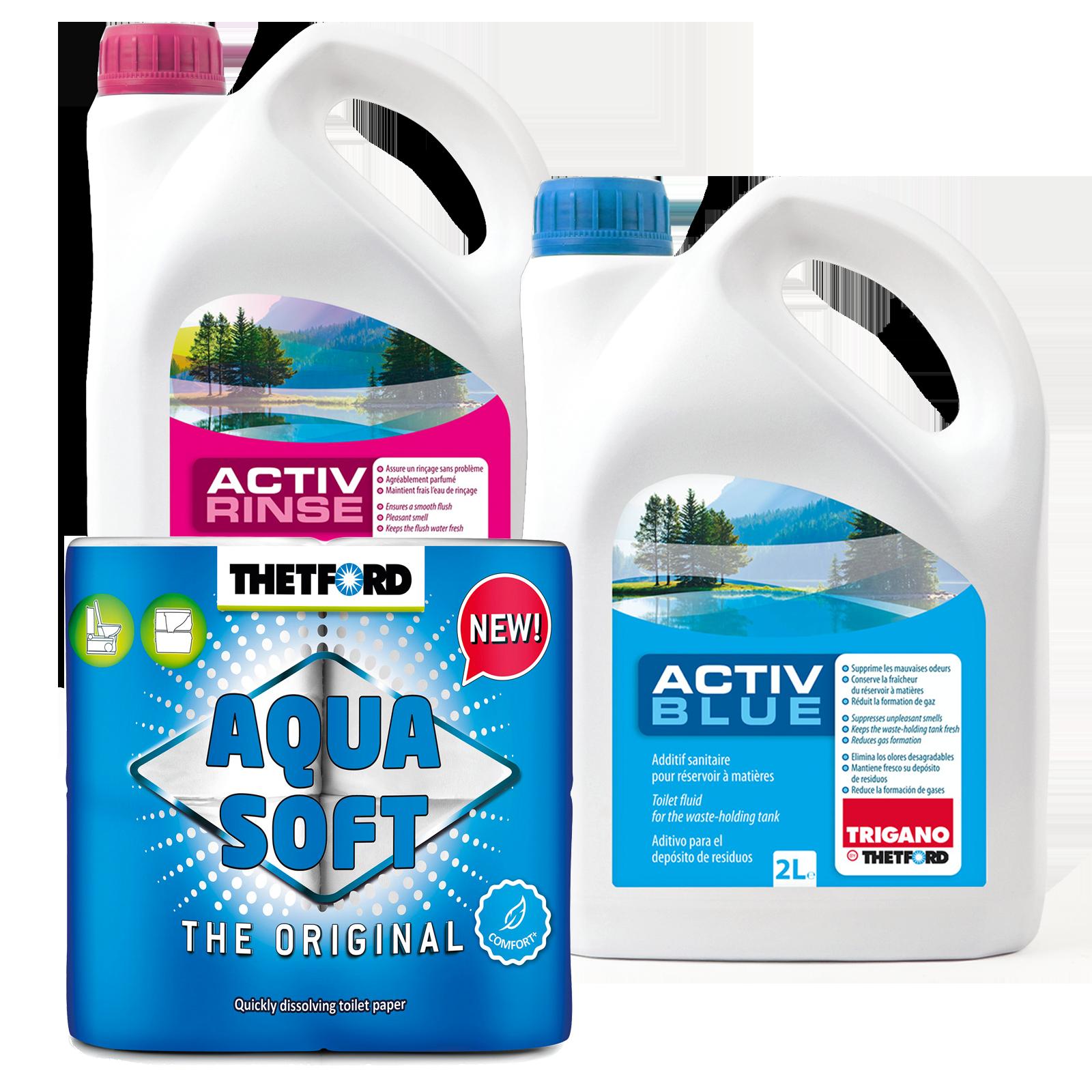 Set Thetford Activ Blue & Activ Rinse Toiletten Zusatz je 2 Liter + Aqua Soft