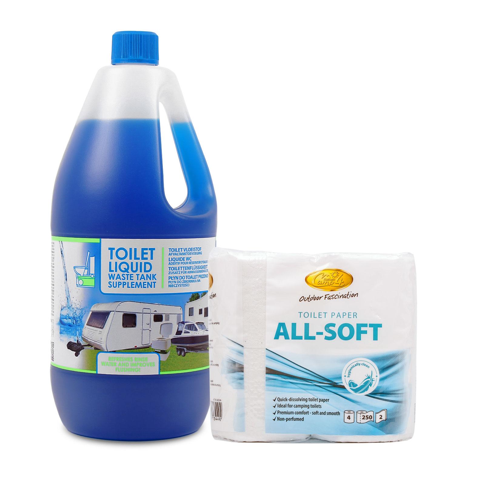 Toilettenzusatz Set für Wohnmobile, 2 Ltr Toilettenflüssigkeit + 1x All Soft