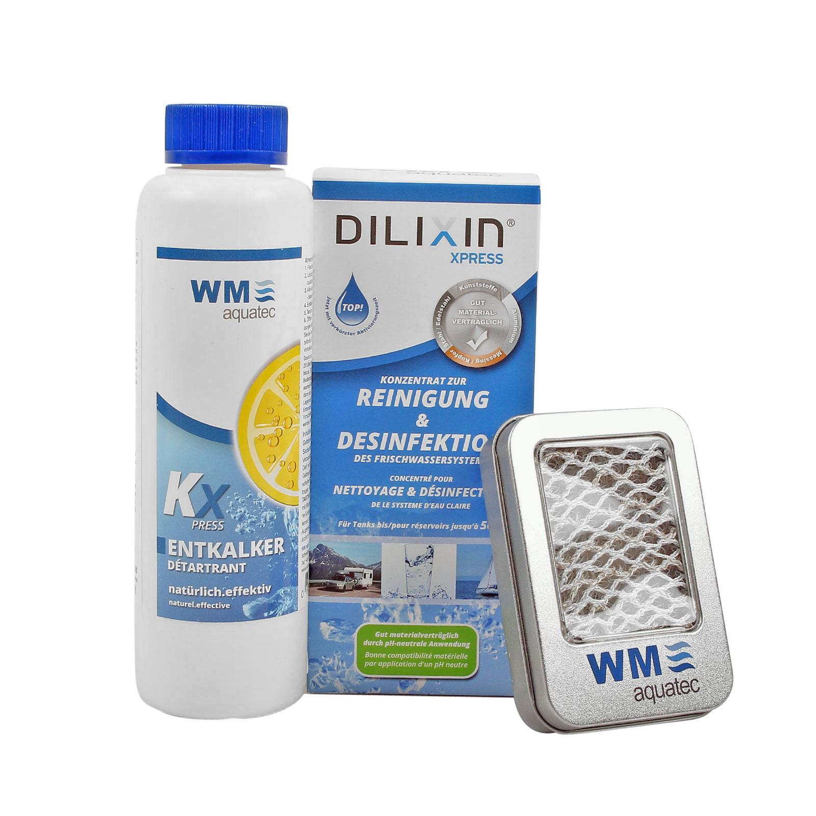 Hygiene Trio Frischwassersystem bis 50 Ltr Entkalker, Desinfektion, Silbernetz