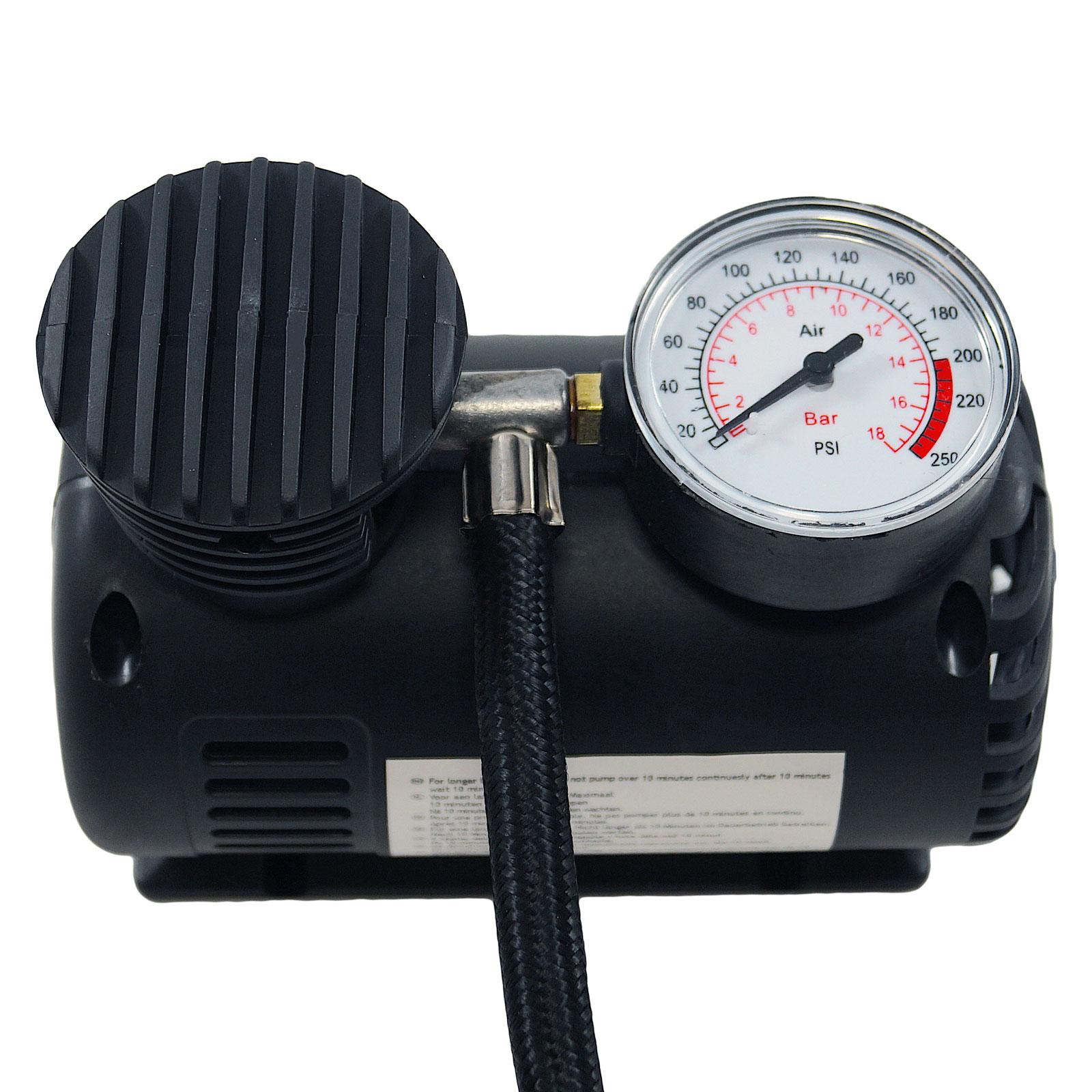 12 Volt Minikompressor, 17 Bar, 10 min. Dauerbetrieb, 2,85m Kabellänge