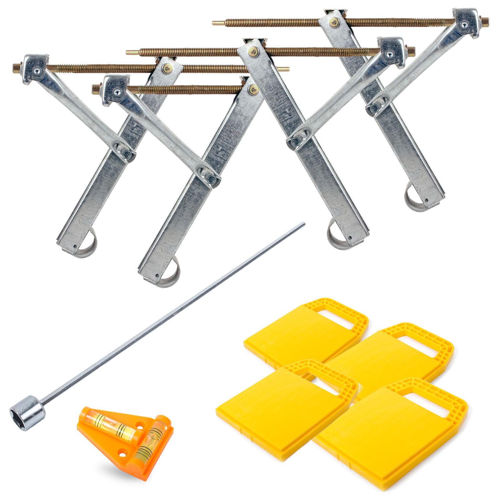Ausdrehstützen 4 Stück + Akkuschrauberaufsatz + Camco Stützplatten + Wasserwaage