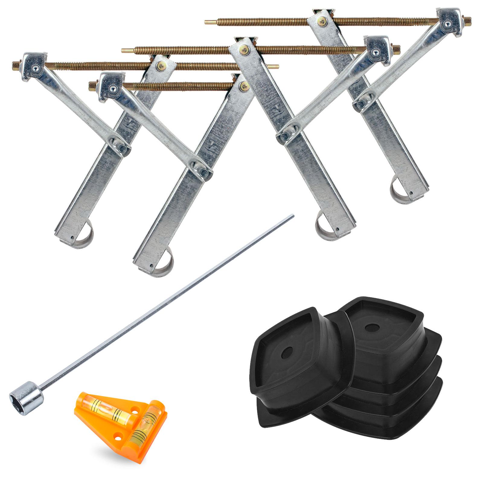 Ausdrehstützen Set + ProPlus Stützplatten + Akkuschrauberaufsatz + Wasserwaage