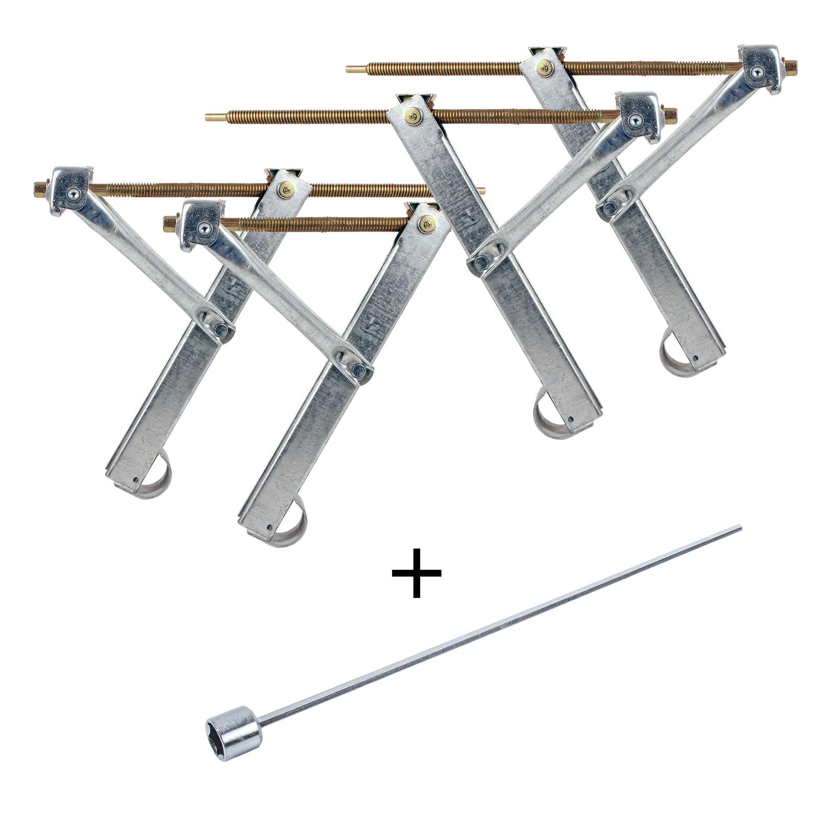 Ausdrehstütze Set 4 Stück Traglast 500 Kg + Akkuschrauberaufsatz 19 mm