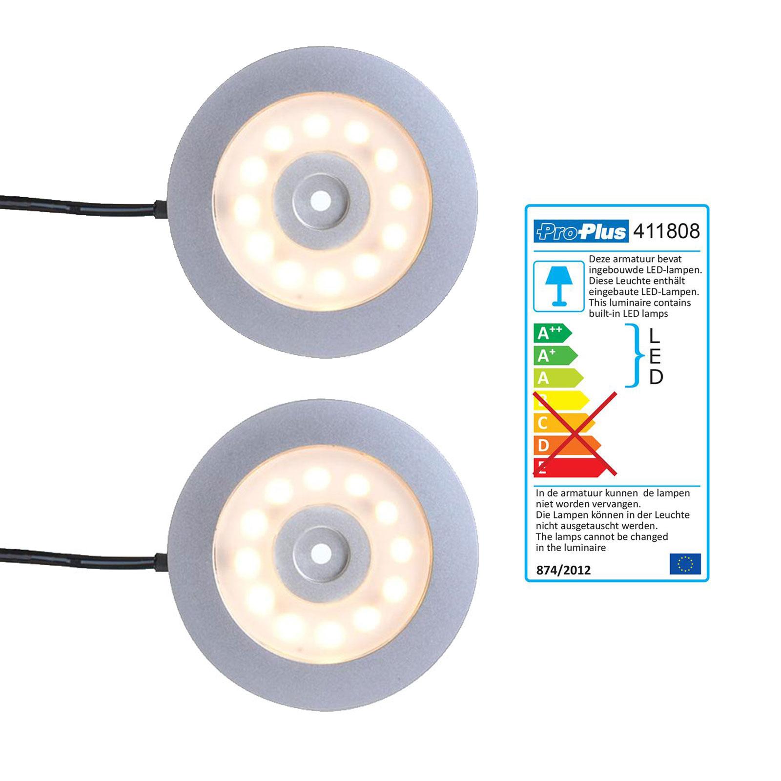 2er Set Aufbauspot 12 LED 240l, 12V-3,4W, Ø55x5,0mm