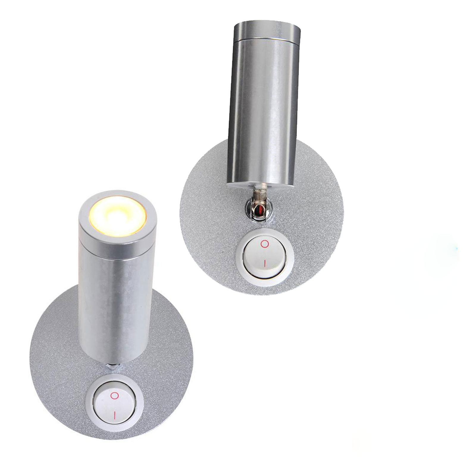 2er Set Aufbauspot 1 LED schwenkbar 12v, 120lm, Ø65x65-130mm