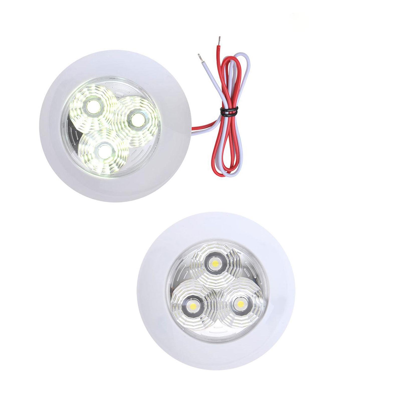 2er Set Deckenleuchte 3 LED 290lm, 12V-2,7W, ø95x25mm