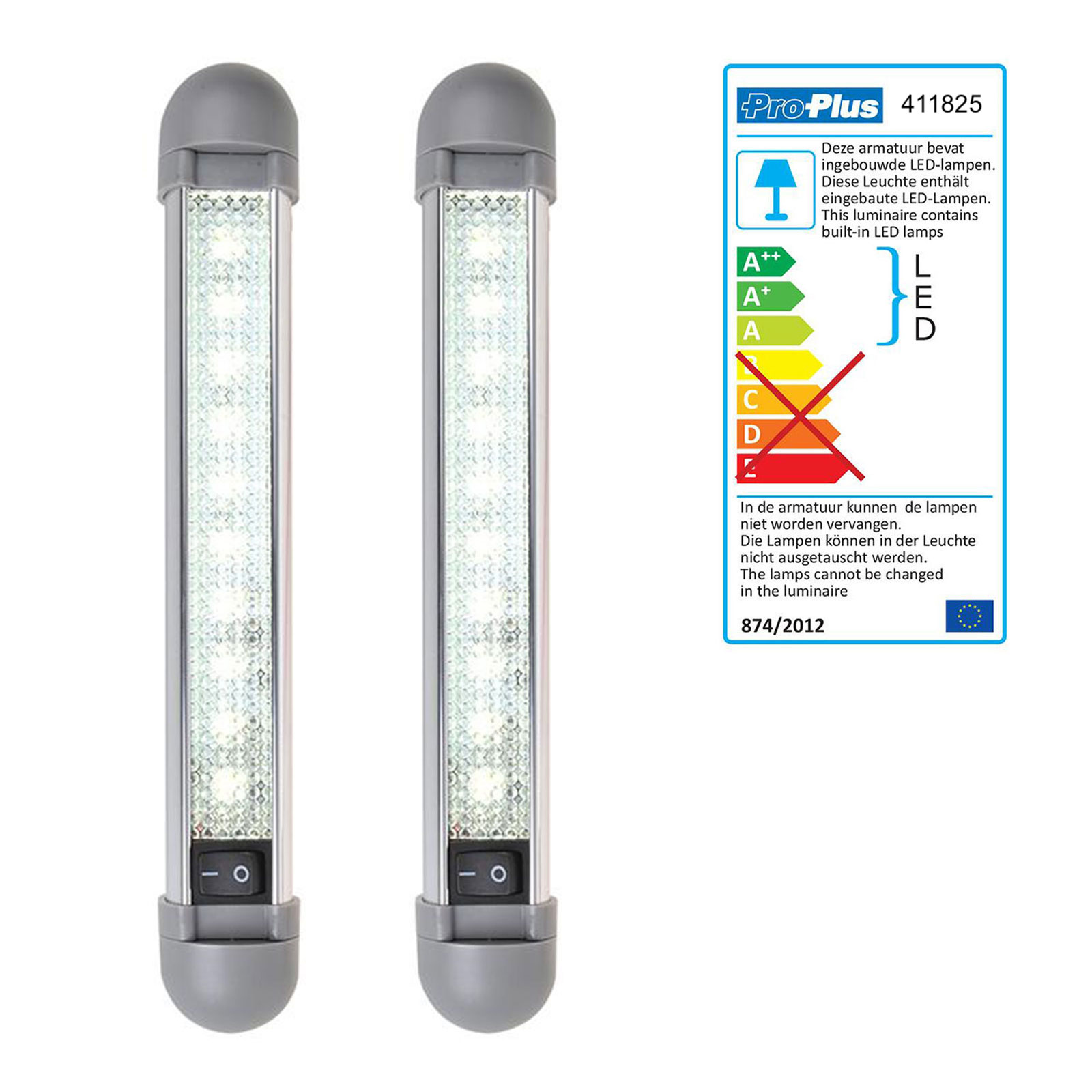 2er Set Linienleuchte 10 LED 12v, 150lm, 225x35x33mm