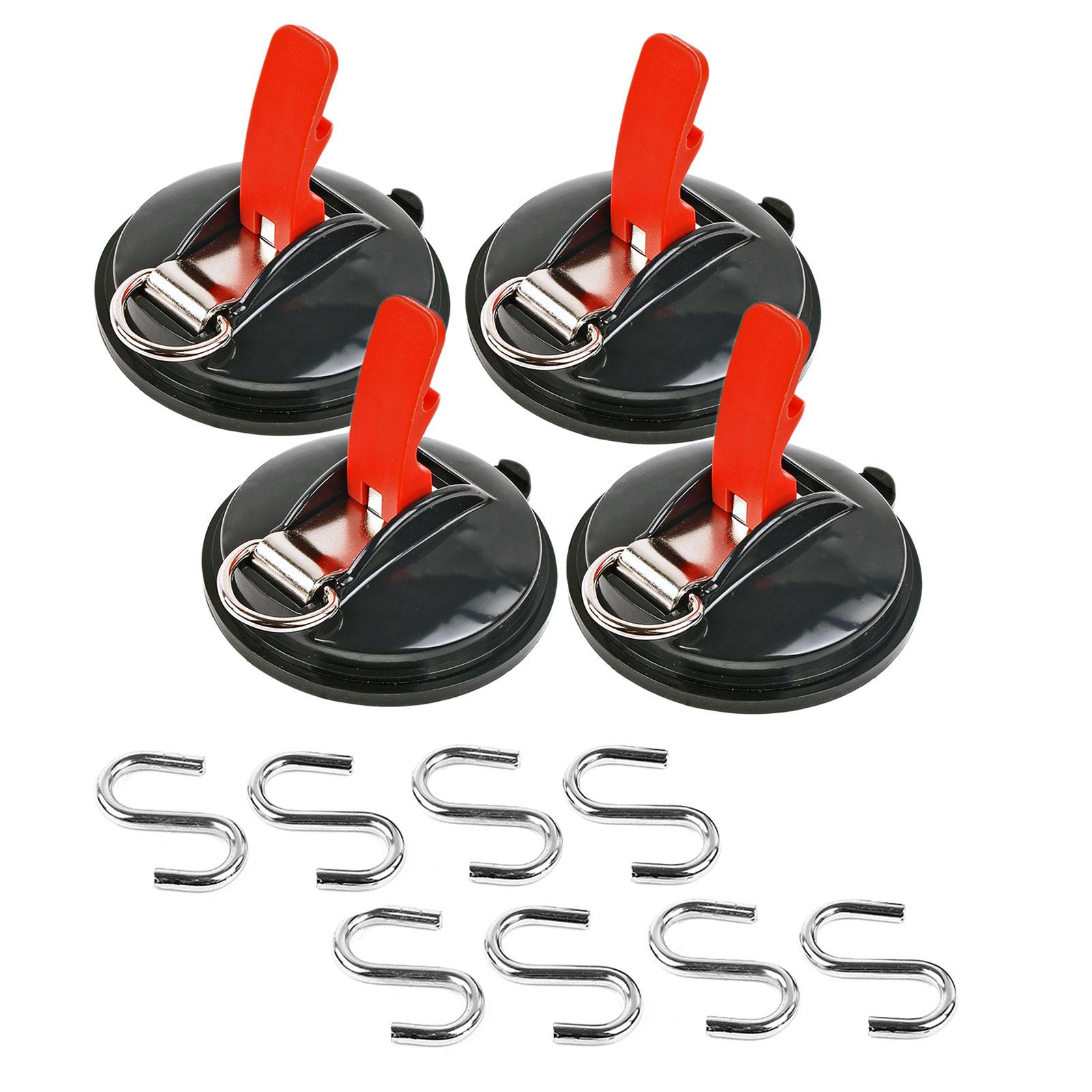 4x Saugnapf Befestigung mit Ring & 2 S-Haken 10 Kg Tragkraft Klappsauger