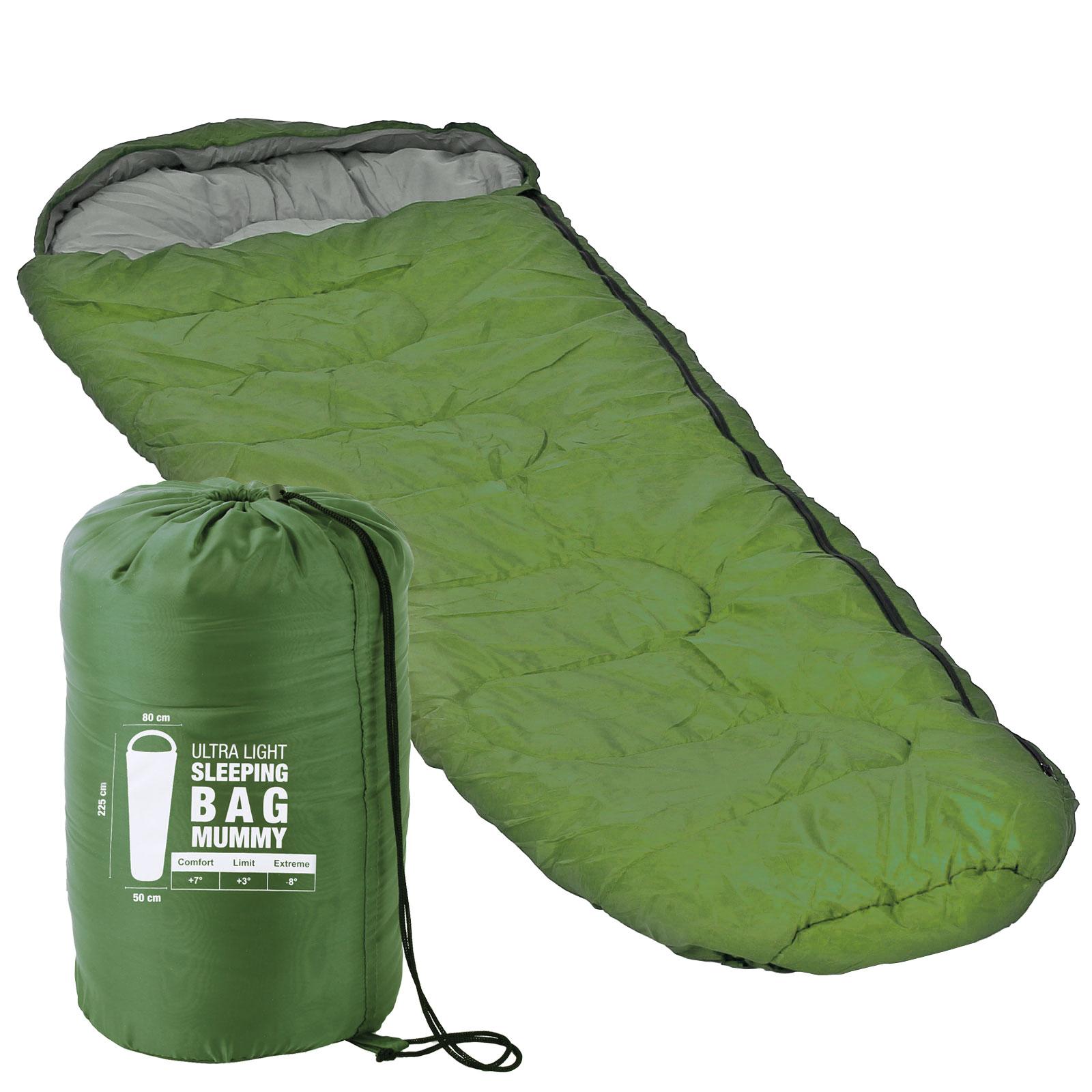 Mumienschlafsack ultraleicht, 225x80x50 cm, - 8 °C, 1,25 kg, grün