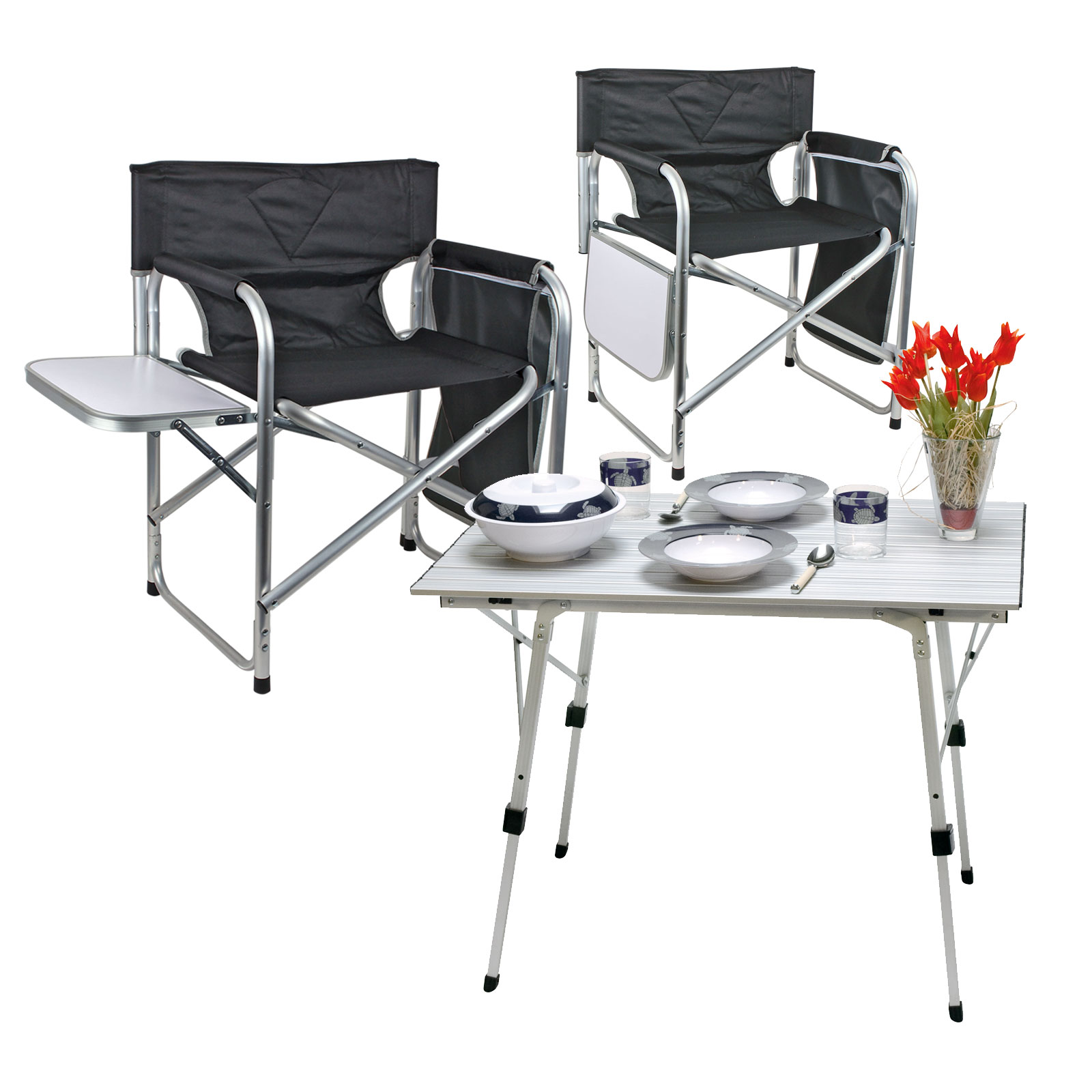 camping m bel set 1x tisch bali 2x campingstuhl klappbar mit ablage utensilo ebay. Black Bedroom Furniture Sets. Home Design Ideas