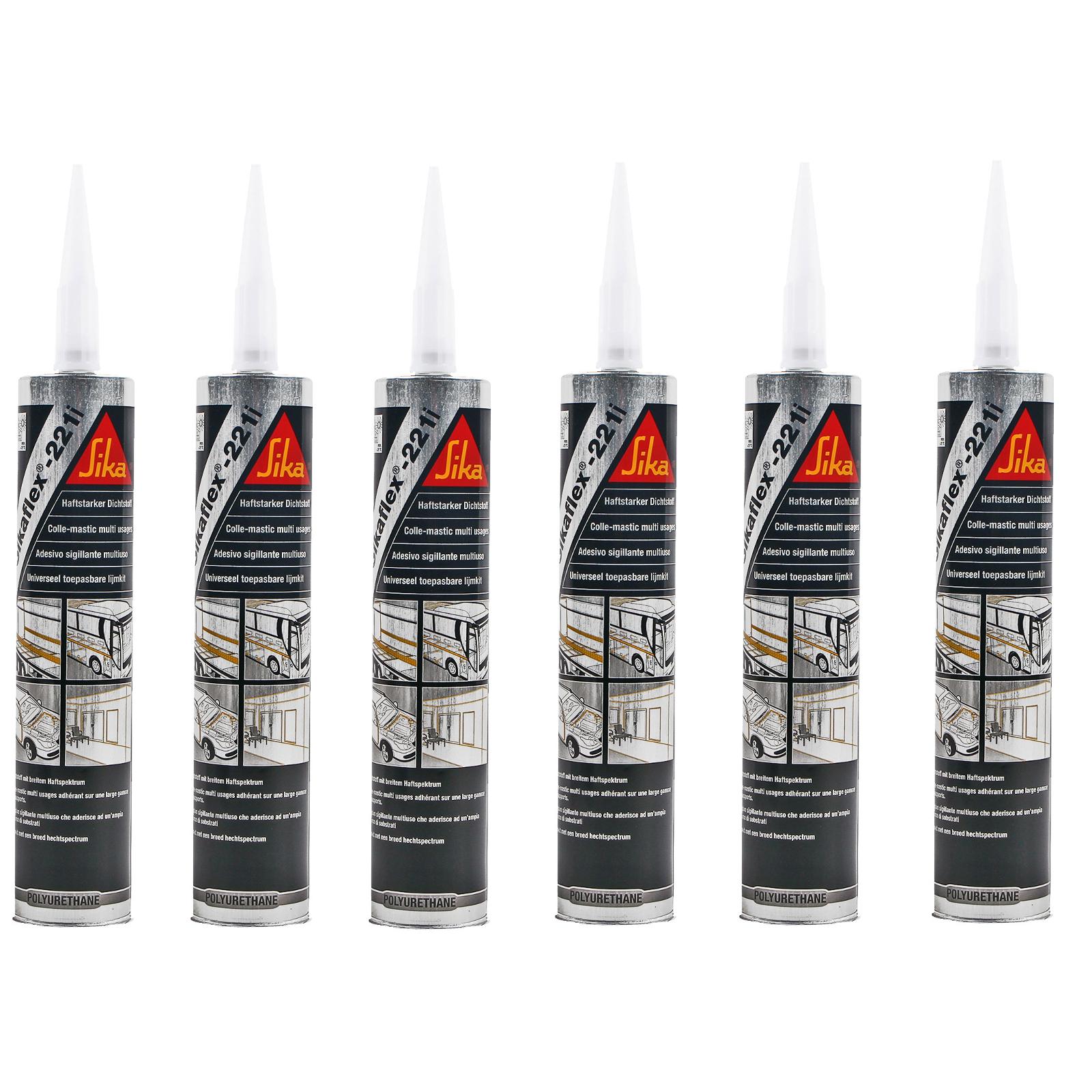 6x Sikaflex 221i weiß 300 ml dauerelastisch, überlackierbar